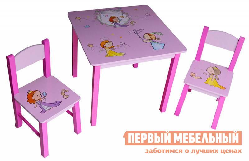 Столик и стульчик Бюрократ KidSet-01 МДФ принцессы розовыйСтолики и стульчики<br>Габаритные размеры ВхШхГ 533x595x595 мм. Этот мебельный набор для самых маленьких, который состоит из двух удобных стульев и компактного стола.  Такое красивое, удобное и компактное место подойдет для работы и творчества.  Модель порадует своих маленьких обладателей привлекательной расцветкой, а родители останутся довольны материалом исполнения - мебель выполнена из МДФ и массива сосны. Размер стола: 533 х 595 х 595 мм. Размер стульчика: 570 х 280 х 300 мм. Набор предназначен для детей ростом от 115 до 130 см. Максимальная нагрузка на стул – 30 кг.<br><br>Цвет: МДФ принцессы розовый<br>Цвет: Розовый<br>Высота мм: 533<br>Ширина мм: 595<br>Глубина мм: 595<br>Кол-во упаковок: 2<br>Форма поставки: В разобранном виде<br>Срок гарантии: 12 месяцев<br>Материал: Деревянные, из МДФ<br>Пол: Для девочек, Для мальчиков