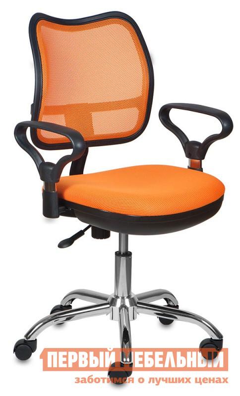 Офисное кресло Бюрократ CH-799SL TW-96-1 ОранжевыйОфисные кресла<br>Габаритные размеры ВхШхГ 990x610x400 мм. Офисное кресло наполнит будни в офисе комфортом и стилем.  Тканевое исполнение дополнено сияющим блеском хромированной крестовины.  Такое решение выделяет кресло из рядов офисной мебели, но не переносит в плоскость недосягаемого великолепия.  Сидеть в кресле приятно и комфортно благодаря широким подлокотникам и эргономичной сетчатой спинке.  Регулировка высоты кресла осуществляется с помощью газлифта.  Дополнительно кресло оборудовано механизмом качания, который адаптируется под вес сидящего.  При желании спинку можно зафиксировать в вертикальном положении.  Маневренные колесики обеспечат легкое перемещение пустого кресла, или мобильность во время работы. Максимальная допустимая нагрузка – 120 кг.  Цветовое разнообразие поможет привнести индивидуальность в интерьер и расширит возможные варианты оформления кабинета.<br><br>Цвет: TW-96-1 Оранжевый<br>Цвет: Оранжевый<br>Высота мм: 990<br>Ширина мм: 610<br>Глубина мм: 400<br>Кол-во упаковок: None<br>Форма поставки: В разобранном виде<br>Тип: До 80 кг, До 100 кг, До 120 кг<br>Материал: из ткани, С сетчатой спинкой<br>Особенности: Эргономичные, С хромированной крестовиной, С подголовником
