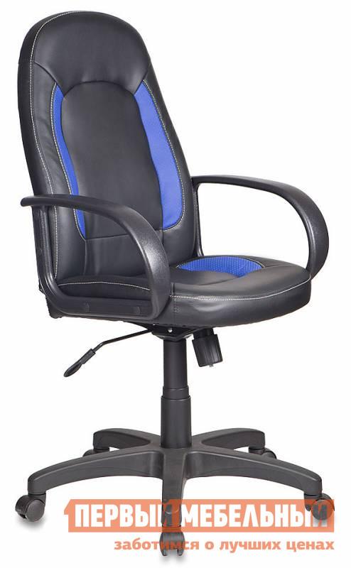 Офисное кресло Бюрократ CH-826 Иск. кожа черная / Вставки синийОфисные кресла<br>Габаритные размеры ВхШхГ 1020 / 1120x700x480 мм. Кресло с контрастными вставками немного разбавит строгий офисный интерьер и подарит комфорт своему владельцу — рядовому офисному сотруднику или руководителю. Кресло оснащено механизмом качания. Также модель настраивается по высоте, благодаря механизму газлифт. Максимальная нагрузка на газлифт — 120 кг. Крестовина и подлокотники выполнены из пластика.  Обивка сиденья и спинки выполнена из искусственной кожи.<br><br>Цвет: Черный<br>Цвет: Синий<br>Высота мм: 1020 / 1120<br>Ширина мм: 700<br>Глубина мм: 480<br>Кол-во упаковок: 1<br>Форма поставки: В разобранном виде<br>Срок гарантии: 18 месяцев<br>Тип: До 80 кг<br>Тип: До 100 кг<br>Тип: До 120 кг<br>Тип: Со спинкой<br>Тип: Регулируемые по высоте<br>Назначение: Для дома<br>Назначение: Для оператора<br>Назначение: Для персонала<br>Материал: Искусственная кожа<br>С подлокотниками: Да<br>На колесиках: Да<br>С мягким сиденьем: Да<br>Пластиковая крестовина: Да<br>С высокой спинкой: Да<br>С откидной спинкой: Да