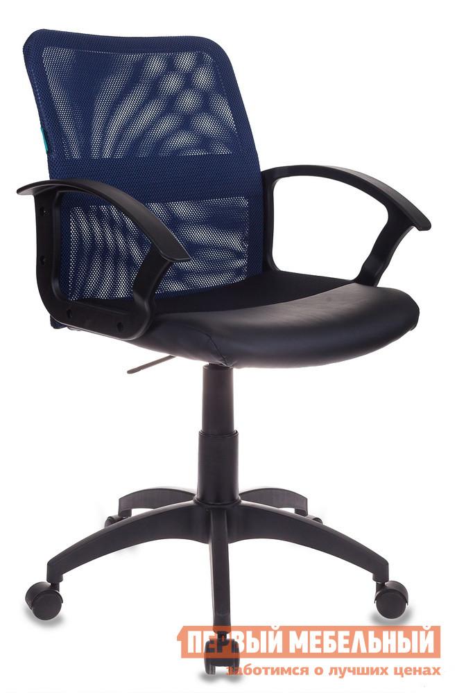 Кресло для офиса Бюрократ CH-590 Сетка Синий, Иск. кожа черная от Купистол