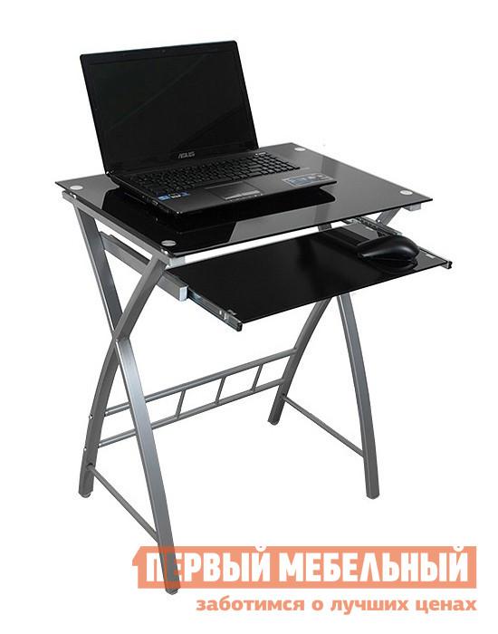 Столик для ноутбука Бюрократ GD-003 Черное стеклоСтолики для ноутбука<br>Габаритные размеры ВхШхГ 750x600x450 мм. Стильный компактный компьютерный стол. Серебристый каркас и стеклянная столешница придают облегченный вид конструкции. Под столешницей располагается выдвижная полка под клавиатуру. Максимальная нагрузка на столешницу — 30 кг. Максимальная нагрузка на полка под клавиатуру — 25 кг. Каркас выполнен из металла, окрашенного в серебристый цвет. Столешница и полка изготавливаются из закаленного стекла толщиной 5 мм.<br><br>Цвет: Черное стекло<br>Цвет: Черный<br>Высота мм: 750<br>Ширина мм: 600<br>Глубина мм: 450<br>Форма поставки: В разобранном виде<br>Срок гарантии: 12 месяцев<br>Тип: Прямые<br>Материал: Стеклянные<br>Размер: Маленькие, Шириной 60 см<br>Особенности: Без надстройки, С металлическими ножками, Дешевые