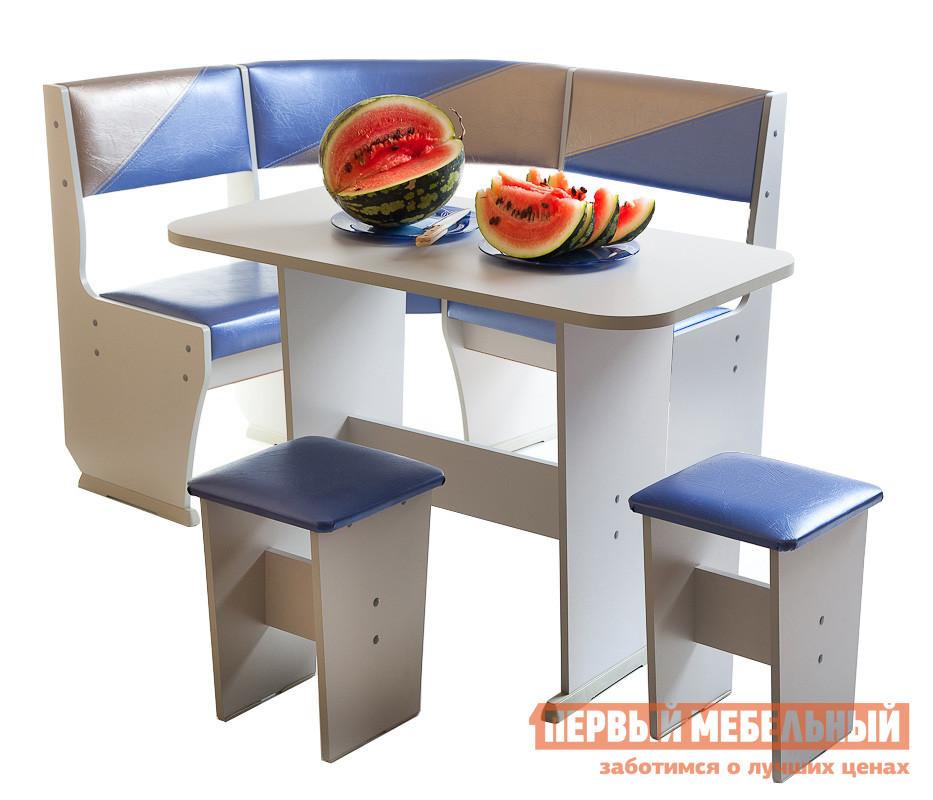 Кухонный уголок Мебель Волгодонска Лидер 2 мини  Пепел, синий перл./серый перл.
