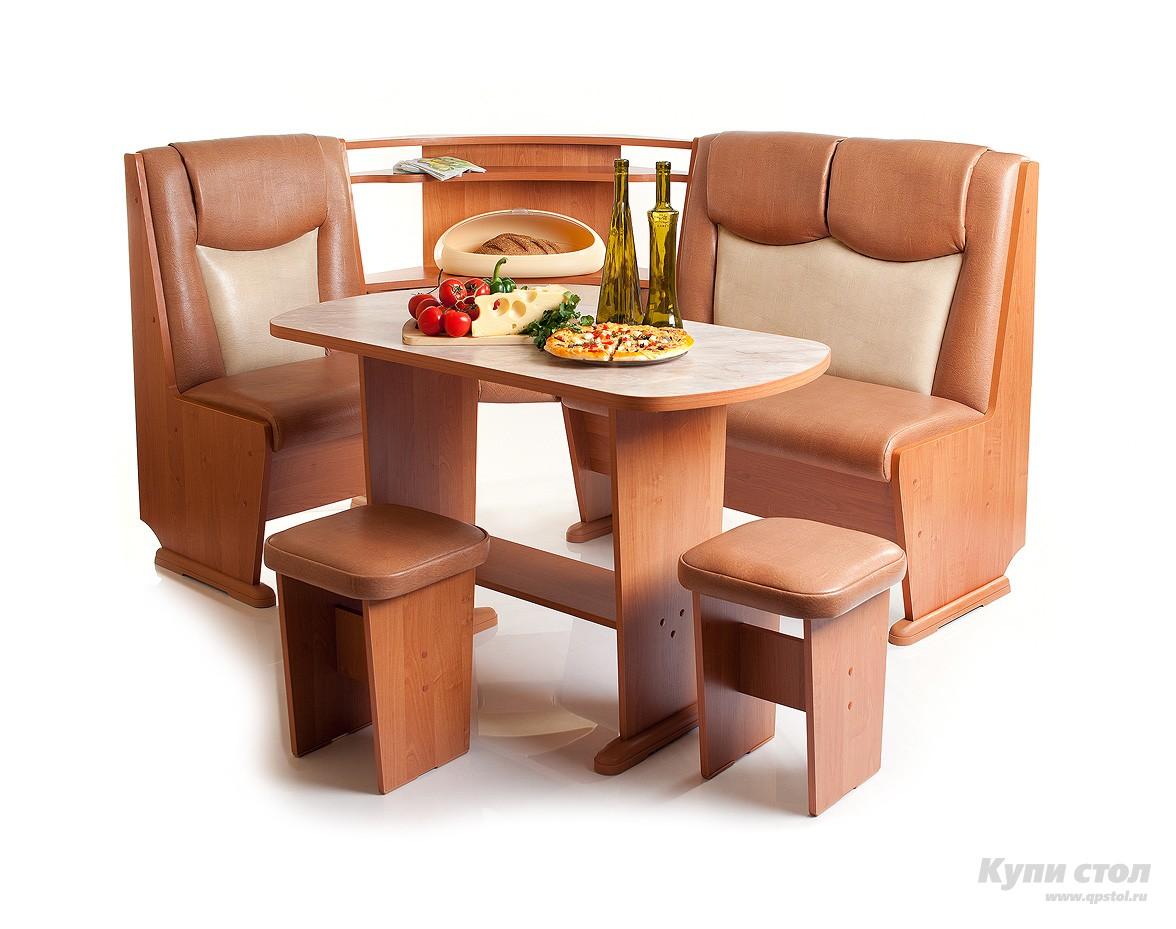 Кухонный уголок КУ Лидер 5 П+ Стол Лидер 5 + Табуреты Лидер 2