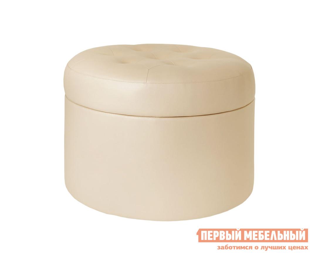 Пуфик ОГОГО Обстановочка! Barrel большой Кож. зам. Domus Кремовый (cream brulee) ОГОГО Обстановочка! Габаритные размеры ВхШхГ 450x600x600 мм. Мягкий и большой пуф дополнит прихожую, спальню или гостиную.  В этом пуфе сочетаются стиль, удобство и практичность — модель оснащена вместительной емкостью для хранения под съемным сиденьем, которое декорировано строчкой и пуговицами. <br>Каркас пуфа выполнен из деревянного бруса и фанеры — это обеспечивает ему прочность.  Обивка выполнена из ткани или экокожи в зависимости от выбранной расцветки. <br>Максимальная нагрузка — 100 кг. <br>