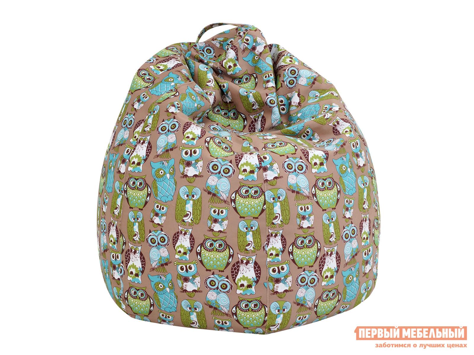 Кресло-мешок ОГОГО Обстановочка! Lux Ткань Fashion Birds Green (зеленые совы)