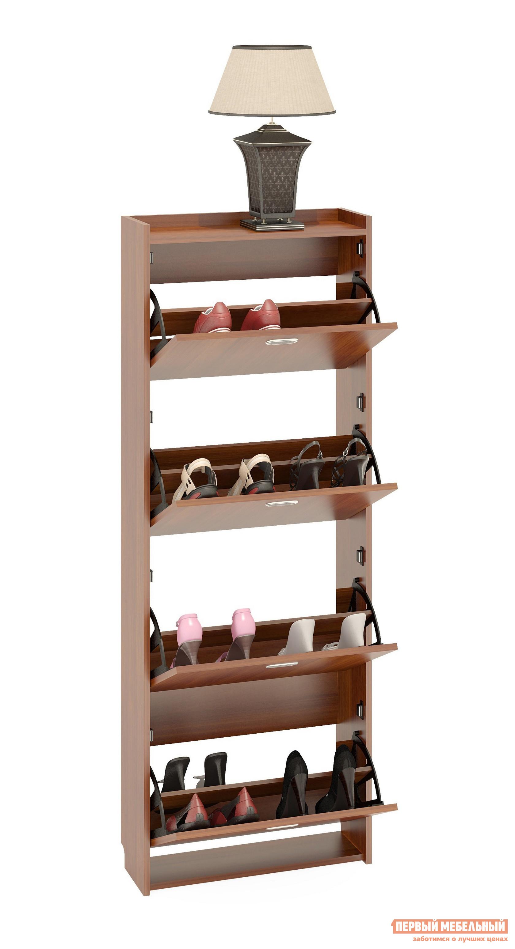 Обувница Сокол ТО-4 Испанский орехОбувницы<br>Габаритные размеры ВхШхГ 1646x600x220 мм. Обувница очень практичная составляющая прихожей.  Мебельное изделие украсит прихожую, избавит ее от неопрятного видаразбросанной обуви, а также поможет сохранить привлекательный вид обуви во время хранения.   Модель ТО-4 – четырехсекционная обувница, ее вместительность – 16 пар обуви.  В закрытом состоянии мебельное изделие отличаетневероятная компактность.  Секции удобно открывать, предоставляется полный обзор хранимой обуви.  Изделие изготовлено из высококачественной ЛДСП 16мм, края отделаны кромкой ПВХ 0. 4мм.  При сборке необходимо крепить обувницу к стене для лучшей устойчивости.  Рекомендуем сохранить инструкцию по сборке (паспорт изделия) до истечения гарантийного срока.<br><br>Цвет: Испанский орех<br>Цвет: Красное дерево<br>Высота мм: 1646<br>Ширина мм: 600<br>Глубина мм: 220<br>Кол-во упаковок: 1<br>Форма поставки: В разобранном виде<br>Срок гарантии: 2 года<br>Тип: Закрытые<br>Материал: Деревянные<br>Размер: Узкие<br>Глубина: Неглубокие