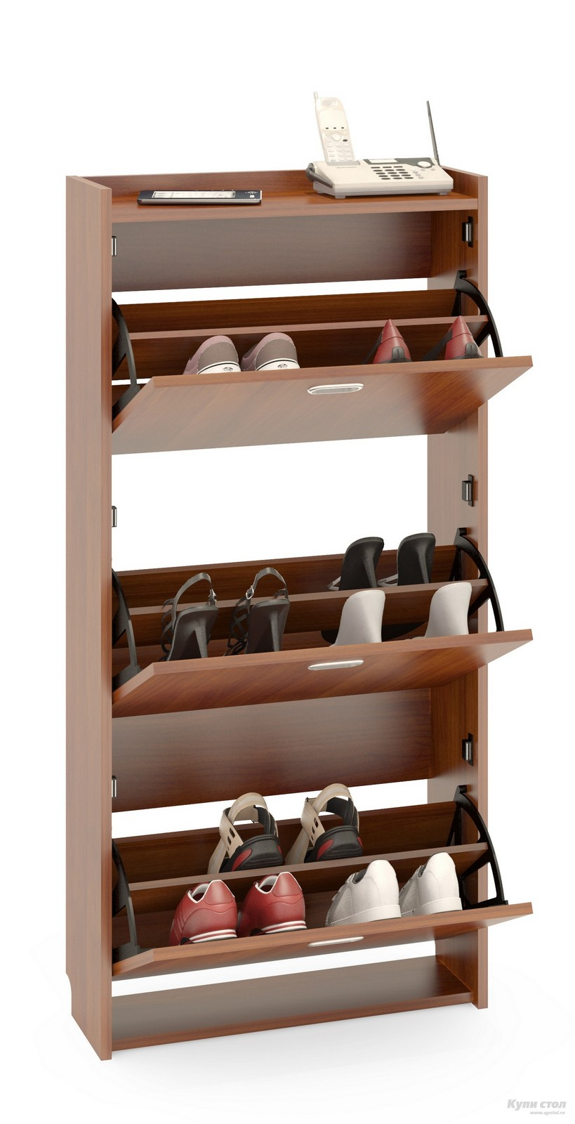 Обувница Сокол ТО-3 Испанский орехОбувницы<br>Габаритные размеры ВхШхГ 1255x600x220 мм.  Обувница очень практичная составляющая прихожей.  Мебельное изделие украсит прихожую, избавит ее от неопрятного видаразбросанной обуви, а также поможет сохранить привлекательный вид обуви во время хранения.   Модель ТО-3 трехсекционная обувница, ее вместительность – 12 пар обуви.  В закрытом состоянии мебельное изделие отличаетневероятная компактность.  Секции удобно открывать, предоставляется полный обзор хранимой обуви.  Изделие изготовлено из высококачественной ЛДСП 16мм, края отделаны кромкой ПВХ 0. 4мм.  При сборке необходимо крепить обувницу к стене для лучшей устойчивости.  Рекомендуем сохранить инструкцию по сборке (паспорт изделия) до истечения гарантийного срока.<br><br>Цвет: Испанский орех<br>Цвет: Красное дерево<br>Высота мм: 1255<br>Ширина мм: 600<br>Глубина мм: 220<br>Кол-во упаковок: 1<br>Форма поставки: В разобранном виде<br>Срок гарантии: 2 года<br>Тип: Закрытые<br>Материал: Деревянные<br>Размер: Узкие