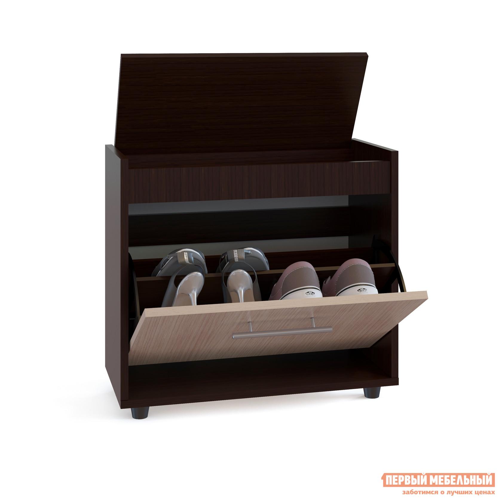 Обувница Сокол ТП-6 Венге / Беленый дубОбувницы<br>Габаритные размеры ВхШхГ 555x600x283 мм. Очаровательная маленькая обувница не займет много места в прихожей и позволит хранить обувь в порядке и в быстром доступе.  Модель имеет одно отделение с двумя отсеками и рассчитана на 4 пары невысокой обуви на плоской подошве.  Сверху под крышкой располагается ниша, в которой удобно будет держать под рукой аксессуары для обуви. Обувницу можно использовать в качестве банкетки для переобувания. Максимальная нагрузка — 90 кг. Изготавливается из ЛДСП 16 мм, края обработаны кромкой ПВХ 0,4 мм. Рекомендуем сохранить инструкцию по сборке (паспорт изделия) до истечения гарантийного срока.<br><br>Цвет: Венге / Беленый дуб<br>Цвет: Темное-cветлое дерево<br>Высота мм: 555<br>Ширина мм: 600<br>Глубина мм: 283<br>Кол-во упаковок: 1<br>Форма поставки: В разобранном виде<br>Срок гарантии: 2 года<br>Тип: Закрытые<br>Назначение: В прихожую<br>Материал: Деревянные, из ЛДСП<br>Форма: Прямоугольные<br>Размер: Узкие, Одноместные<br>Глубина: Неглубокие<br>Особенности: С сиденьем, С ящиками, С жестким сиденьем, На ножках, С крышкой, С полкой для обуви, Без спинки<br>Стиль: Классический