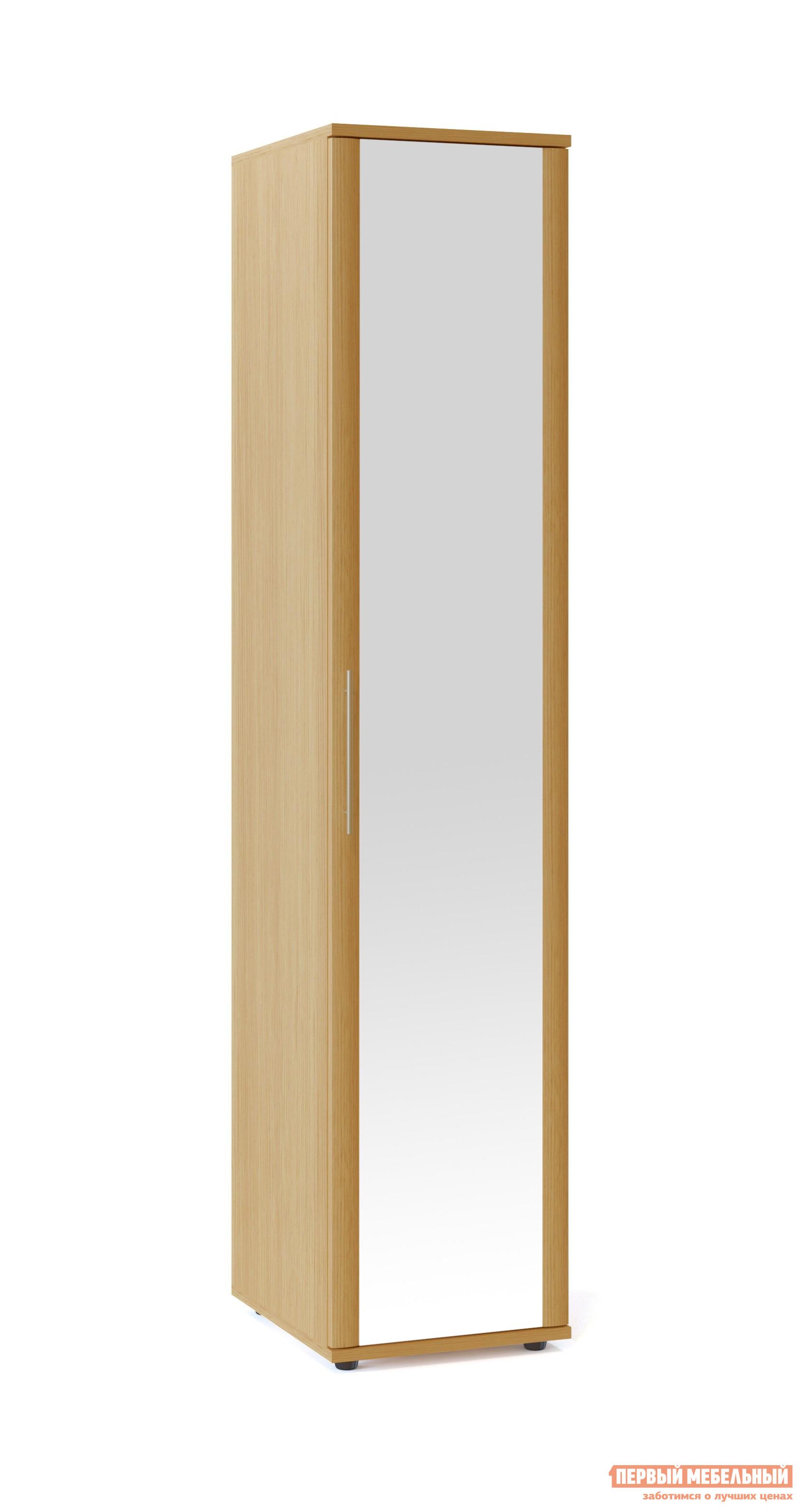 Шкаф распашной Сокол Маркес ШМ-205.1 Зеркало Ольха С, ПравыйШкафы распашные<br>Габаритные размеры ВхШхГ 2334x485x580 мм. Шкаф для одежды шириной 485 мм.  Изделие оснащается полками и штангой для одежды.  Фасад выполнен с применением накладного профиля и будет прекрасным дополнением к любому интерьеру.  Дверь шкафа распашная, дополнена зеркалом. Шкаф выполнен из высококачественного ЛДСП толщиной 16 и 22 мм и оснащен надежной импортной фурнитурой, отлично зарекомендовавшей себя в течение длительной эксплуатации. Кромка на основе ПВХ толщиной 0,4 мм защитит торцы изделий от сколов и повреждений, вызванных неосторожным обращением. Рекомендуем сохранить инструкцию по сборке (паспорт изделия) до истечения гарантийного срока.<br><br>Цвет: Светлое дерево<br>Высота мм: 2334<br>Ширина мм: 485<br>Глубина мм: 580<br>Кол-во упаковок: 2<br>Форма поставки: В разобранном виде<br>Срок гарантии: 2 года<br>Тип: Прямые<br>Материал: Дерево<br>Материал: ЛДСП<br>Размер: Однодверные<br>С зеркалом: Да
