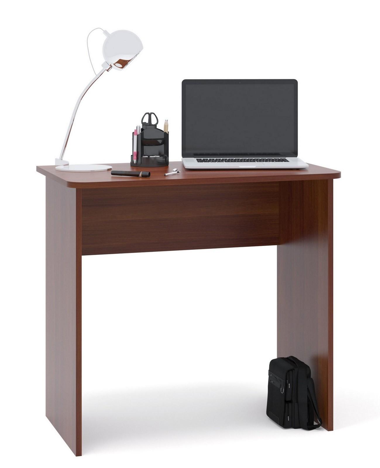 Письменный стол Сокол СПМ-08 Испанский орехПисьменные столы<br>Габаритные размеры ВхШхГ 740x800x446 мм. Небольшой письменный стол для работы или учебы.  Стол можно использовать как письменный или компьютерный.  Простая конструкция стола впишется в любой интерьер и не будет его загромождать лишними деталями. Столешница изготовлена из ЛДСП отечественного производства толщиной 16 мм, отделана кромкой ПВХ 2 мм.  Рекомендуем сохранить инструкцию по сборке (паспорт изделия) до истечения гарантийного срока.<br><br>Цвет: Испанский орех<br>Цвет: Красное дерево<br>Высота мм: 740<br>Ширина мм: 800<br>Глубина мм: 446<br>Кол-во упаковок: 1<br>Форма поставки: В разобранном виде<br>Срок гарантии: 2 года<br>Тип: Прямые<br>Материал: Деревянные, из ЛДСП<br>Размер: Маленькие, Шириной 80 см<br>Стиль: Современный, Модерн