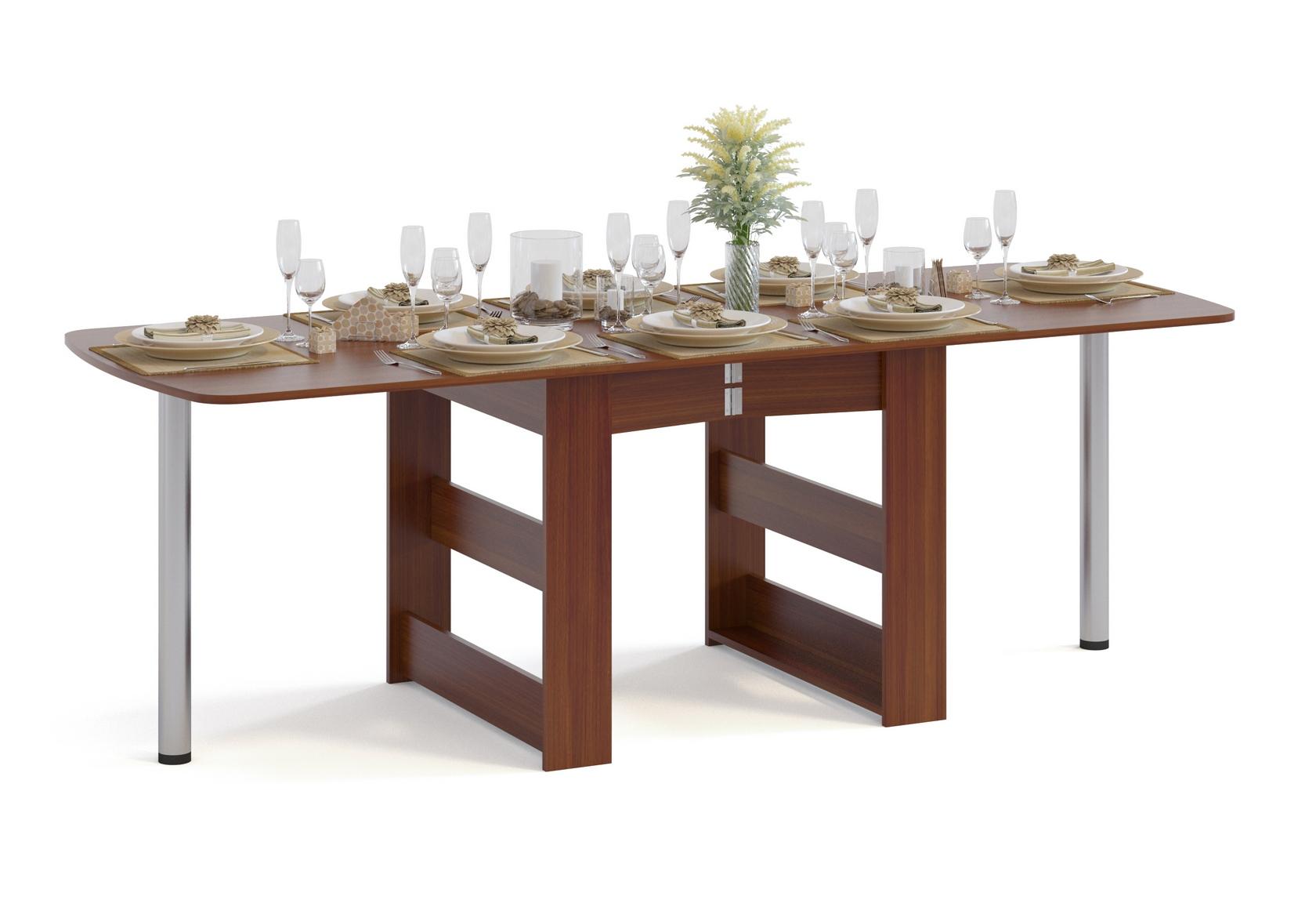 Стол-книжка Сокол СП-11.1 Испанский орехСтолы-книжки<br>Габаритные размеры ВхШхГ 740x314 / 2255x830 мм. Стол-книжка для любителей устраивать пышные застолья.  Уникальность стола заключается в том, что он имеет три варианта размера:Сложенный стол – размер 740 Х 314 Х 830 мм – может использоваться как пристенный столик;На половину разложенный стол – размер 740 Х 1680 Х 830 мм – подойдет для небольшого праздничного обеда;Полностью разложенный стол – размер 740 Х 2255 Х 830 мм – подойдет для масштабного застолья. Благодаря металлическим ножкам и устойчивым центральным опорам из ЛДСП, даже в максимально разложенном виде конструкция стола остается устойчивой, а для более легкого раздвижения стола предусмотрены выкатные колесики. Толщина столешницы составляет 16 мм.  Рекомендуем сохранить инструкцию по сборке (паспорт изделия) до истечения гарантийного срока.<br><br>Цвет: Красное дерево<br>Высота мм: 740<br>Ширина мм: 314 / 2255<br>Глубина мм: 830<br>Кол-во упаковок: 1<br>Форма поставки: В разобранном виде<br>Срок гарантии: 2 года<br>Тип: Раскладные<br>Тип: Трансформер<br>Материал: Дерево<br>Материал: ЛДСП<br>Форма: Прямоугольные<br>Размер: Большие<br>Размер: Узкие<br>С металлическими ножками: Да