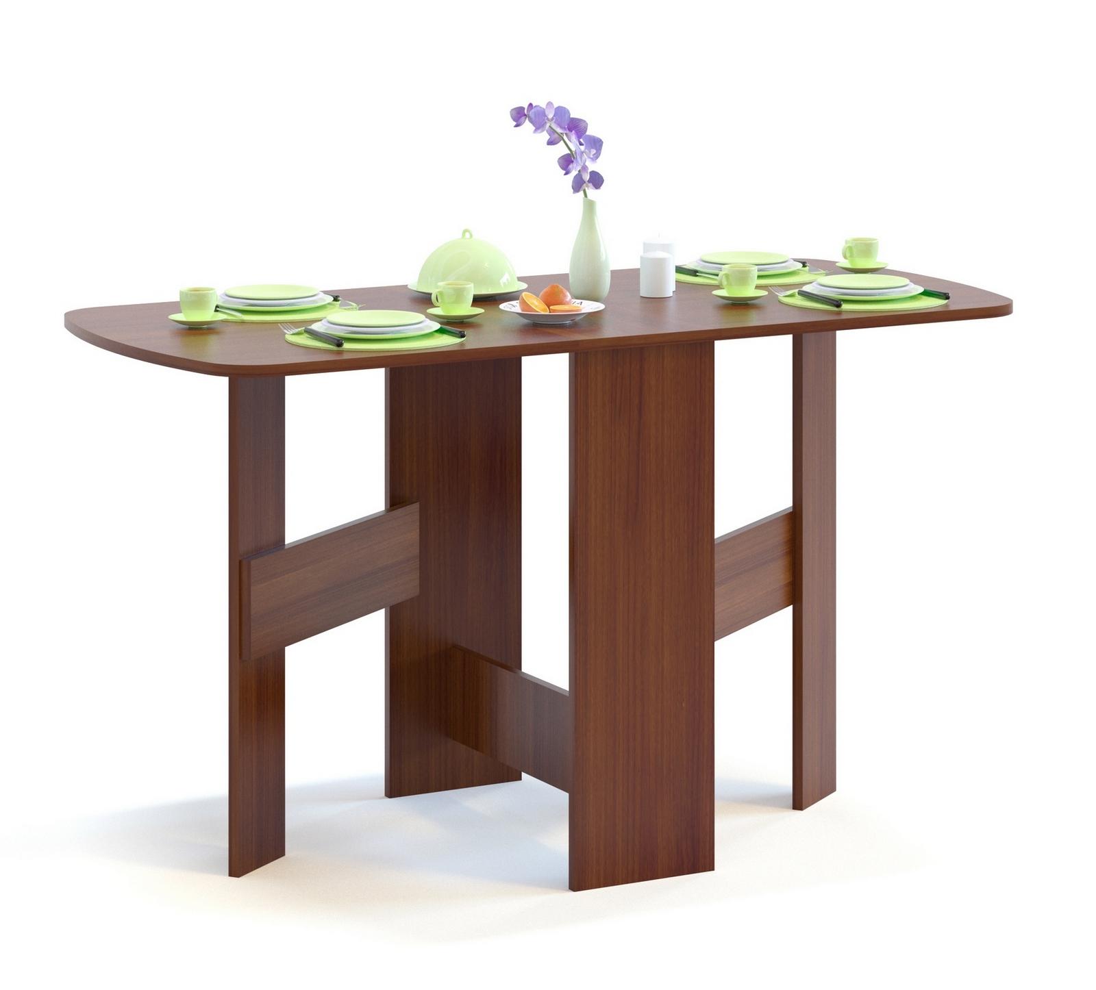 Стол-книжка Сокол СП-10.1 Испанский орехСтолы-книжки<br>Габаритные размеры ВхШхГ 734x260 / 1300x600 мм. Компактный стол-книжка прекрасно подойдет для малогабаритной квартиры.  В сложенном состоянии ширина стола всего 26 см.  В разложенном виде стол превращается в полноценный обеденный стол.  Также вы можете разложить стол только наполовину.  Изделие выполнено из ЛДСП.  Рекомендуем сохранить инструкцию по сборке (паспорт изделия) до истечения гарантийного срока.<br><br>Цвет: Испанский орех<br>Цвет: Красное дерево<br>Высота мм: 734<br>Ширина мм: 260 / 1300<br>Глубина мм: 600<br>Кол-во упаковок: 1<br>Форма поставки: В разобранном виде<br>Срок гарантии: 2 года<br>Тип: Раскладные, Трансформер<br>Материал: Деревянные, из ЛДСП<br>Форма: Прямоугольные<br>Размер: Маленькие, Узкие