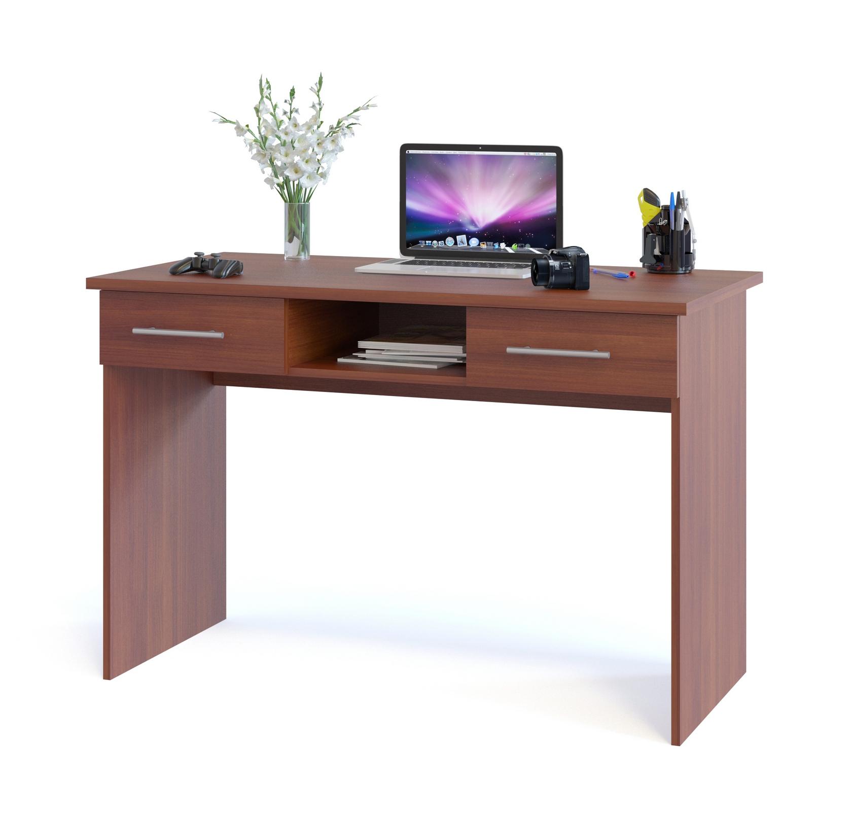 Письменный стол Сокол КСТ-107.1 Испанский орехПисьменные столы<br>Габаритные размеры ВхШхГ 790x1200x600 мм. Удобный письменный стол может использоваться как для работы, так и для учебы.  На нем можно разместить как компьютер, так и ноутбук.  Стол оснащен двумя выдвижными ящиками и нишей.  Это поможет вам максимально комфортно организовать рабочее место.  На столешнице предусмотрено два отверстия для вывода проводов.  При желании их можно закрыть заглушками, которые входят в комплект. Внутренний размер ящиков составляет 390 х 322 мм, что позволит разместить в них документы формата А4 и канцелярские принадлежности. Глубина ниши — 486 мм.  Столешница изготовлена из высококачественного ДСП отечественного производства толщиной 22 мм, края обработаны кромкой ПВХ 2 мм, остальные детали — ЛДСП 16 мм, кромка 0,4 мм.  Изделие хорошо упаковано вгофротару вместе с необходимой фурнитурой для сборки и подробной инструкцией. Рекомендуем сохранить инструкцию по сборке (паспорт изделия) до истечения гарантийного срока.<br><br>Цвет: Испанский орех<br>Цвет: Красное дерево<br>Высота мм: 790<br>Ширина мм: 1200<br>Глубина мм: 600<br>Кол-во упаковок: 1<br>Форма поставки: В разобранном виде<br>Срок гарантии: 2 года<br>Тип: Прямые<br>Материал: Деревянные, из ЛДСП<br>Размер: Маленькие, Шириной 120 см<br>Особенности: С ящиками, Без надстройки<br>Стиль: Современный, Модерн