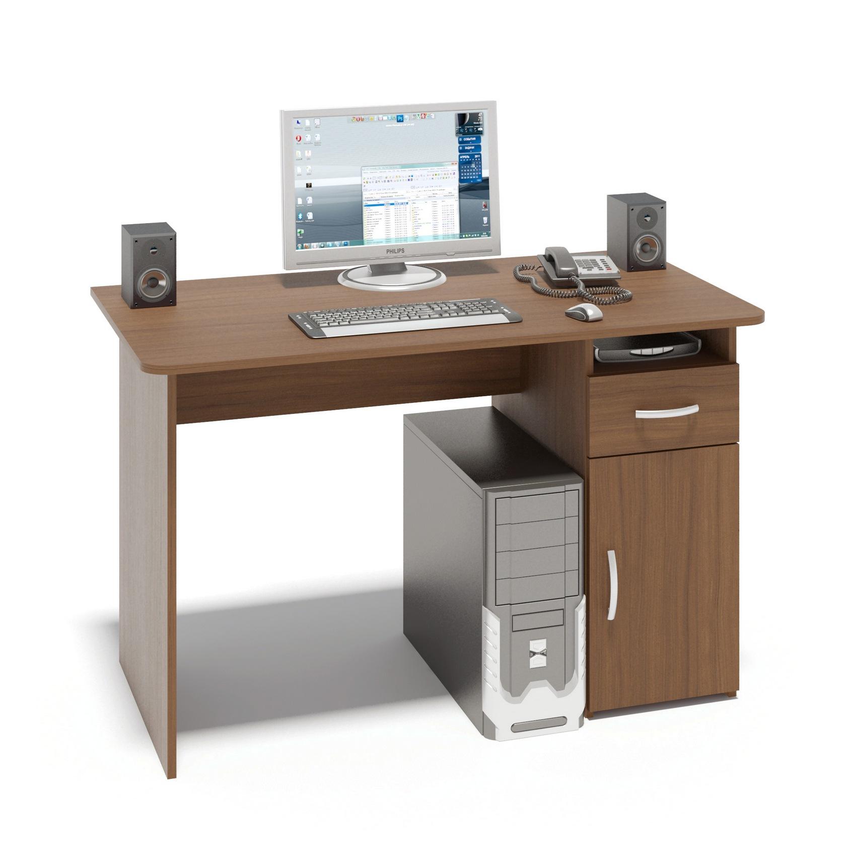 Письменный стол Сокол СПМ-03.1 Ноче-эккоПисьменные столы<br>Габаритные размеры ВхШхГ 740x1200x600 мм. Классический  письменный стол шириной  1200 мм со встроенной тумбой.  Просторная столешница позволит удобно расположиться за столом и работать с большим объемом документов.  Тумба оснащена  открытой нишей, выдвижным  ящиком и закрытой полкой. Внутренний размер ящика составляет 382 х 223 мм, что позволит разместить в нем документы формата А4, канцелярские принадлежности и необходимые мелочи. Стол универсален при сборке (вы можете расположить тумбу как справа, так и слева). Стол изготовлен из высококачественного ламинированного ДСП  российского производства толщиной 16 мм, края столешницы скруглены и отделаны противоударным кромкой ПВХ.  Изделие поставляется в разобранном виде.  Хорошо упаковано в гофротару вместе с необходимой фурнитурой и подробной инструкцией по сборке.  Простой строгий стол прекрасно впишется в интерьер комнаты или офиса.  Рекомендуем сохранить инструкцию по сборке (паспорт изделия) до истечения гарантийного срока.<br><br>Цвет: Ноче-экко<br>Цвет: Коричневое дерево<br>Высота мм: 740<br>Ширина мм: 1200<br>Глубина мм: 600<br>Кол-во упаковок: 1<br>Форма поставки: В разобранном виде<br>Срок гарантии: 2 года<br>Тип: Прямые<br>Материал: Деревянные, из ЛДСП<br>Размер: Большие, Шириной 120 см<br>Особенности: С ящиками, Без надстройки, С тумбой<br>Стиль: Современный, Модерн