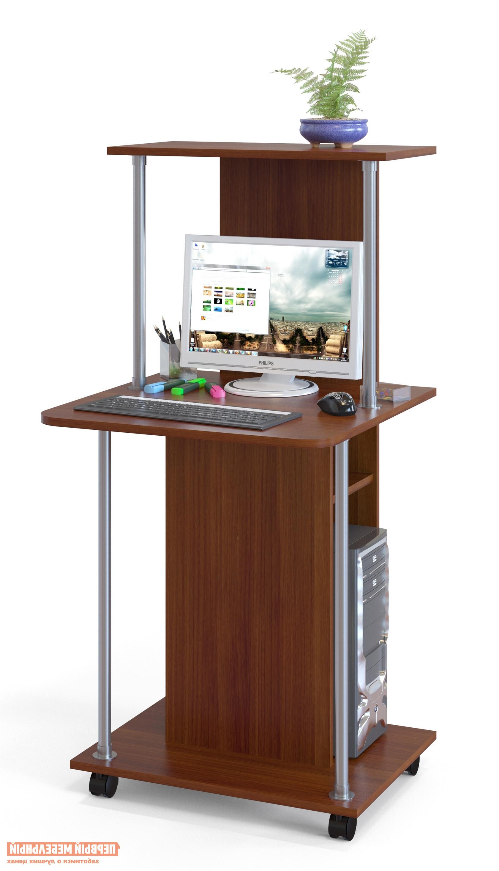Компьютерный стол Сокол КСТ-12 Испанский орехКомпьютерные столы<br>Габаритные размеры ВхШхГ 1255x600x600 мм. Оригинальный компьютерный стол на колесиках.  За таким столом Вы можете работать как с ноутбуком, так и за стационарным компьютером.  За центральной стойкой предусмотрено место для системного блока. Высота от столешницы до верхней полочки — 476 мм. Высота от полочки над системным блоком до столешницы — 166 мм. Высота проема под системный блок — 500 мм, ширина проема — 238 мм. Проем под монитор позволяет разместить экран с диагональю до 20. Изделие выполнено из ЛДСП толщиной 16 мм, края обработаны кромкой ПВХ 2 и 0,4 мм.  Рекомендуем сохранить инструкцию по сборке (паспорт изделия) до истечения гарантийного срока.<br><br>Цвет: Красное дерево<br>Высота мм: 1255<br>Ширина мм: 600<br>Глубина мм: 600<br>Кол-во упаковок: 1<br>Форма поставки: В разобранном виде<br>Срок гарантии: 2 года<br>Тип: Прямые<br>Материал: Дерево<br>Материал: ЛДСП<br>Размер: Маленькие<br>Размер: Ширина 60 см<br>С надстройкой: Да<br>На колесиках: Да<br>С полками: Да