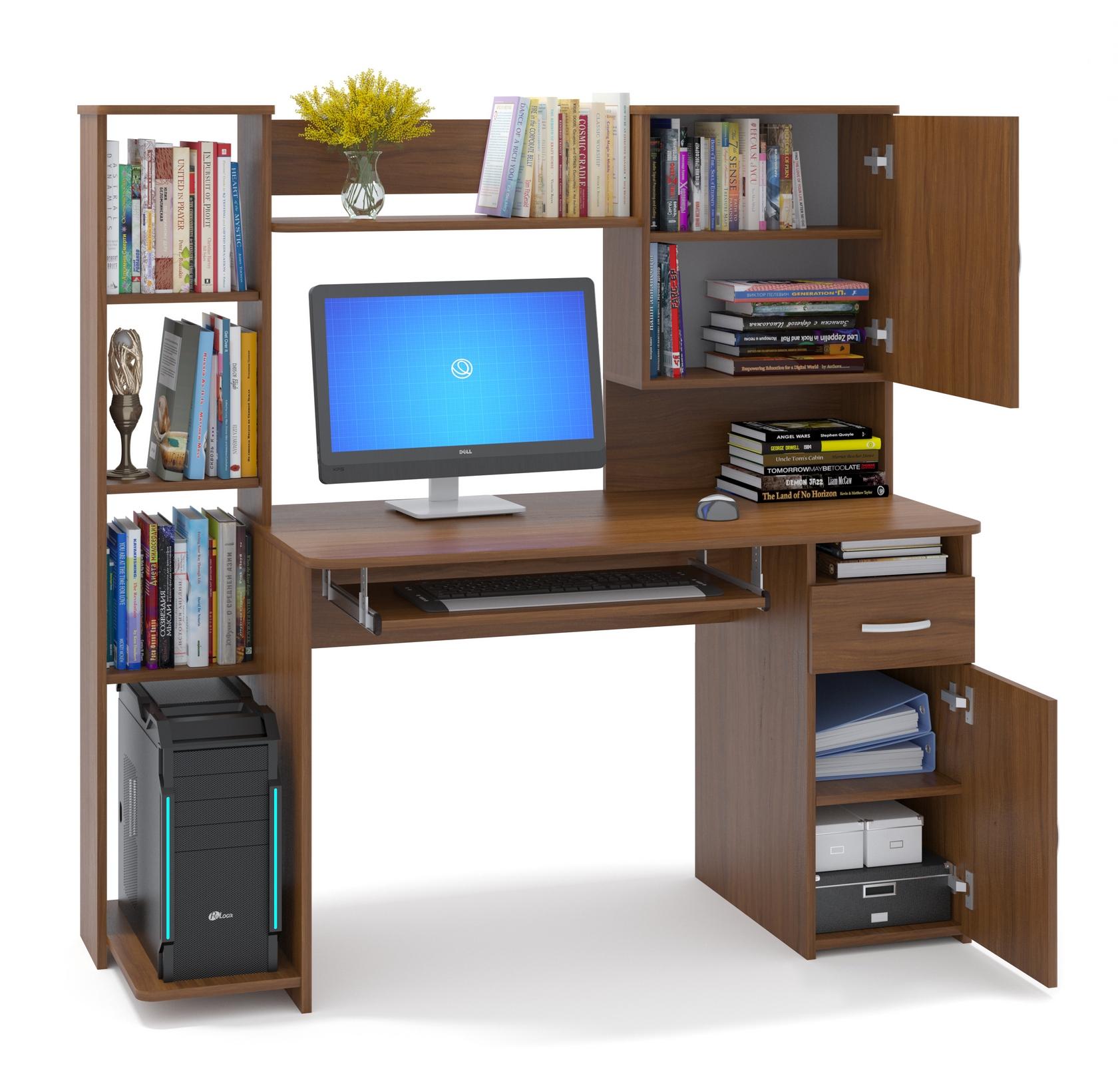"""Компьютерный стол Сокол КСТ-11.1 Ноче-эккоКомпьютерные столы<br>Габаритные размеры ВхШхГ 1444x1486x600 мм. Удобный компьютерный стол с большим количеством полок.  Такое решение прекрасно подойдет для организации места для учебы.  В боковом стеллаже на нижней полке можно удобно разместить системный блок.  За распашными дверками также находятся полки.  Стол оборудован выдвижным ящиком и полкой для клавиатуры, которую можно не устанавливать, если вы планируете работать за ноутбуком. Высота полки под системный блок – 404 мм, Проем под монитор — 442 х 688 мм (под монитор 20""""). Изделие универсальное при сборке - блок со стеллажом и блок с закрытыми полками можно расположить с любой стороны. Столешница изготовлена из ЛДСП отечественного производства толщиной 16 мм, отделана кромкой ПВХ 2 мм.  Рекомендуем сохранить инструкцию по сборке (паспорт изделия) до истечения гарантийного срока.<br><br>Цвет: Ноче-экко<br>Цвет: Коричневое дерево<br>Высота мм: 1444<br>Ширина мм: 1486<br>Глубина мм: 600<br>Кол-во упаковок: 2<br>Форма поставки: В разобранном виде<br>Срок гарантии: 2 года<br>Тип: Прямые<br>Материал: Деревянные, из ЛДСП<br>Размер: Большие<br>Особенности: С надстройкой, С тумбой, С полками"""