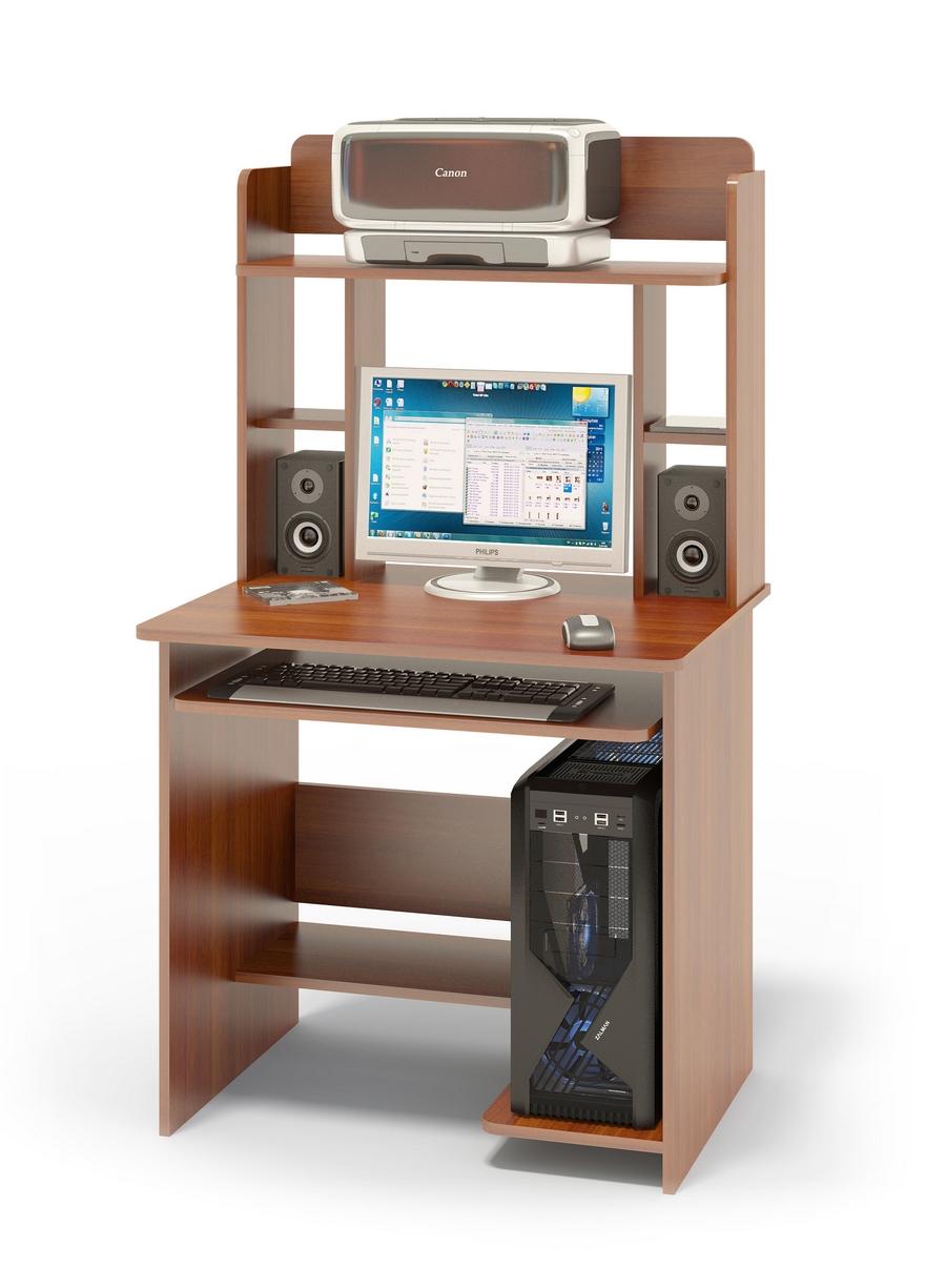 """Компьютерный стол Сокол КСТ-01.1+КН-12 Испанский орехКомпьютерные столы<br>Габаритные размеры ВхШхГ 1420x800x600 мм. Компактный  компьютерный стол  с надстройкой, выкатной полочкой для клавиатуры, позволяющей использовать поверхность стола для работы, полками для системного блока и принтера.   Стол позволит в небольшом пространстве организовать удобное место для работы. Размеры стола — 740 х 800 х 600 ммРазмер полки под клавиатуру — 650 х 356 мм. Размеры верхней полочки в надстройке — 758 х 252 мм. Проем под монитор — 476 х 456 мм (под монитор 20""""). Изготовлен из высококачественного ламинированного ДСП российского производства толщиной  16 мм, столешница имеет скругленные края и отделана противоударным кантом ПВХ. Изделие поставляется в разобранном виде.  Хорошо упаковано вгофротару вместе с необходимой фурнитурой для сборки и подробной инструкцией.  Рекомендуем сохранить инструкцию по сборке (паспорт изделия) до истечения гарантийного срока.<br><br>Цвет: Испанский орех<br>Цвет: Красное дерево<br>Высота мм: 1420<br>Ширина мм: 800<br>Глубина мм: 600<br>Кол-во упаковок: 2<br>Форма поставки: В разобранном виде<br>Срок гарантии: 2 года<br>Тип: Прямые<br>Материал: Деревянные, из ЛДСП<br>Размер: Маленькие, Шириной 80 см<br>Особенности: С надстройкой, С полками<br>Стиль: Современный, Модерн"""