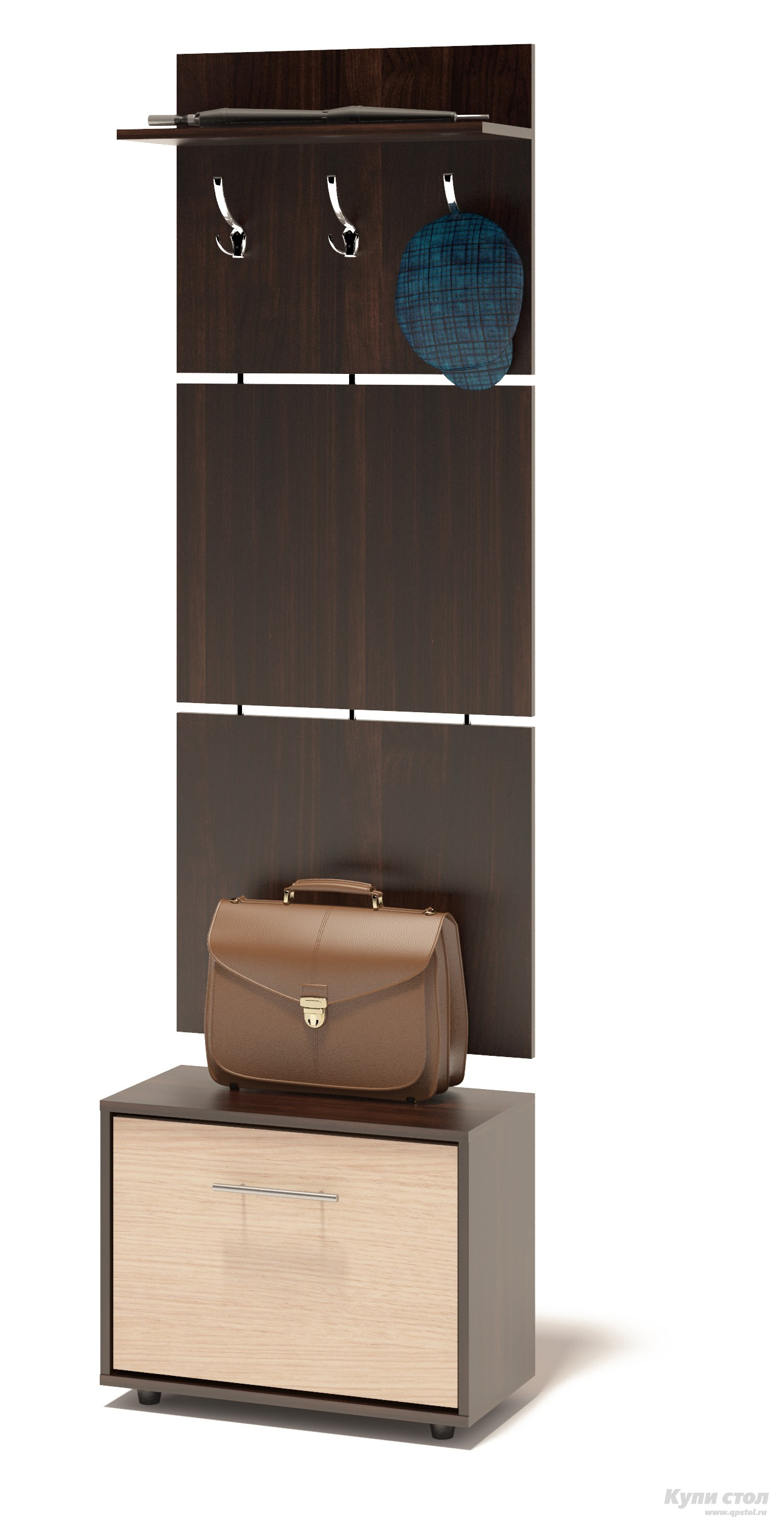Прихожая Сокол ТП-1 + ВШ-5.1 Корпус Венге / Фасад Беленый дубПрихожие в коридор<br>Габаритные размеры ВхШхГ 1961x600x287 мм. Навесная вешалка, выполненная в современном стиле.  Позволит разместить сезонную одежду всей семьи.  Вешалка состоит из 3-х панелей соединенных металлическими вставками.  Полка, закрепленная над крючками для одежды, предназначена специально для головных уборов и зонтов.  Максимальная нагрузка на полку составляет 5кг.  Компактная тумба для обуви, шириной 600 мм.  Дверь оснащена откидывающимся механизмом со специальными полками для размещения обуви, который обеспечивает удобство хранения и легкий доступ к необходимой паре кроссовок или туфлей.  Изделие поставляется в разобранном виде.  Хорошо упаковано в гофротару вместе с необходимой фурнитурой для сборки и подробной инструкцией.   Изготовлена из высококачественной ДСП 16 мм.   Отделывается кромкой ПВХ 0. 4 мм.   Поставляется в разобранном виде.  Рекомендуем сохранить инструкцию по сборке (паспорт изделия) до истечения гарантийного срока.<br><br>Цвет: Темное-cветлое дерево<br>Высота мм: 1961<br>Ширина мм: 600<br>Глубина мм: 287<br>Кол-во упаковок: 2<br>Форма поставки: В разобранном виде<br>Срок гарантии: 2 года<br>Тип: Прямые<br>Характеристика: Модульные<br>Материал: ЛДСП<br>Размер: Узкие<br>Размер: Глубина до 30 см<br>Размер: Глубина до 35 см<br>С открытой вешалкой: Да<br>С обувницей: Да<br>Без шкафа: Да<br>Стиль: Современный