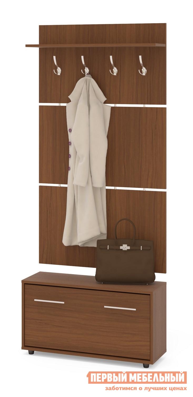 Прихожая Сокол ТП-3 + ВШ-3.1 Ноче-эккоПрихожие в коридор<br>Габаритные размеры ВхШхГ 1961x900x287 мм. Навесная вешалка, выполненная в современном стиле, позволит разместить сезонную одежду всей семьи.  Вешалка состоит из 3-х панелей соединенных металлическими вставками.  На верхней панели есть четыре 3-хрожковых крючка для одежды. Полка, закрепленная над крючками, предназначена специально для головных уборов и зонтов.  Максимальная нагрузка на полку составляет 5кг.  Широкая низкая тумба для обуви — 482 х 900 х 287 мм.   Дверь оснащена откидывающимся механизмом со специальными полками для размещения обуви, который обеспечивает удобство хранения и легкий доступ к необходимой паре кроссовок или туфлей.  Прихожая изготовлена из высококачественной ДСП 16мм, края отделаны кромкой ПВХ 0. 4мм.  Рекомендуем сохранить инструкцию по сборке (паспорт изделия) до истечения гарантийного срока.<br><br>Цвет: Ноче-экко<br>Цвет: Коричневое дерево<br>Высота мм: 1961<br>Ширина мм: 900<br>Глубина мм: 287<br>Кол-во упаковок: 2<br>Форма поставки: В разобранном виде<br>Срок гарантии: 2 года<br>Тип: Прямые<br>Характеристика: Модульные<br>Материал: из ЛДСП<br>Размер: Маленькие<br>Особенности: С открытой вешалкой, На ножках<br>Стиль: Современный