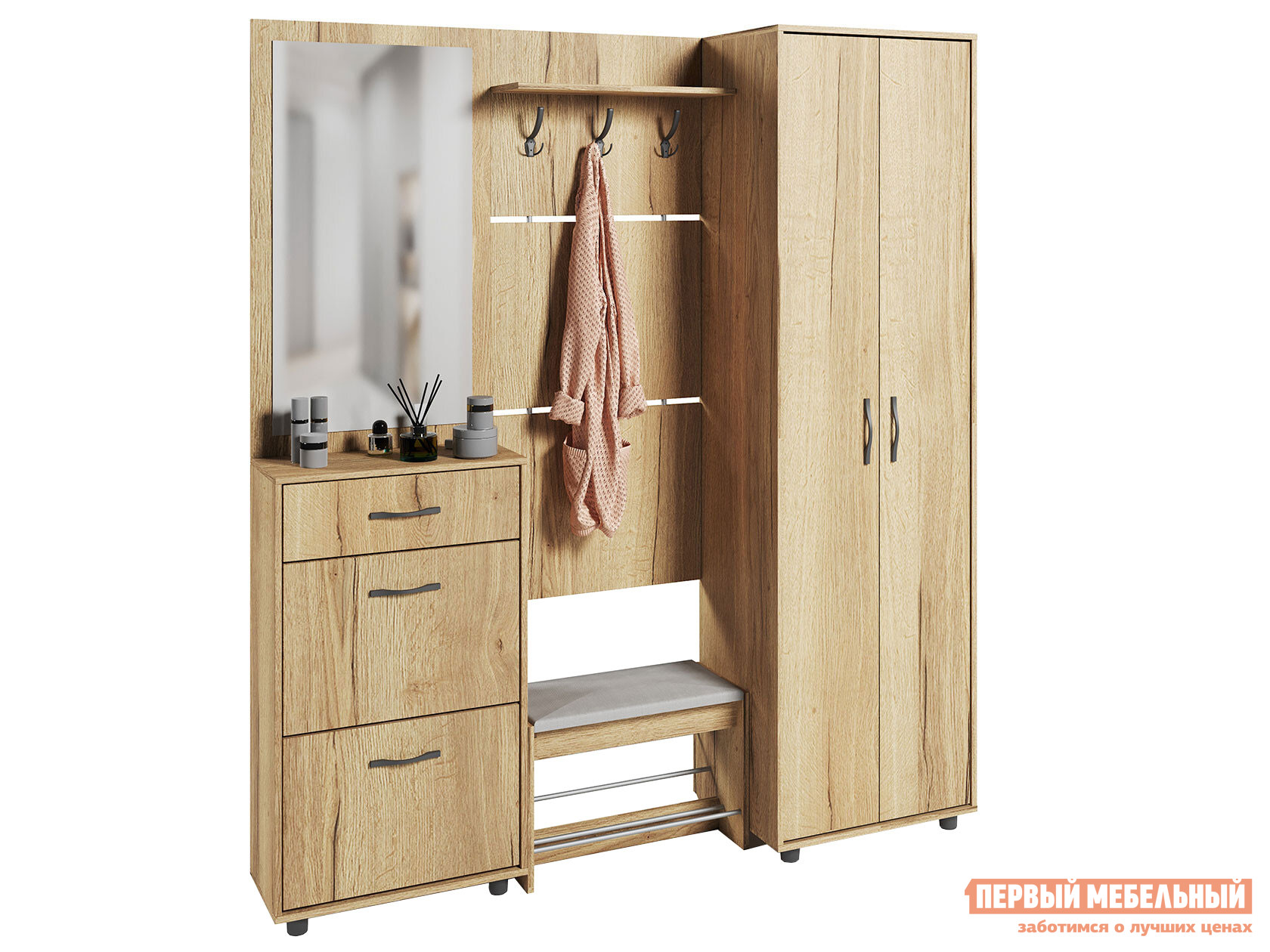 Прихожая в коридор Сокол ВШ-5.1+ТП-5+ТП-2+ПЗ-3+ШО-1 шкаф для одежды сокол шо 1 испанский орех