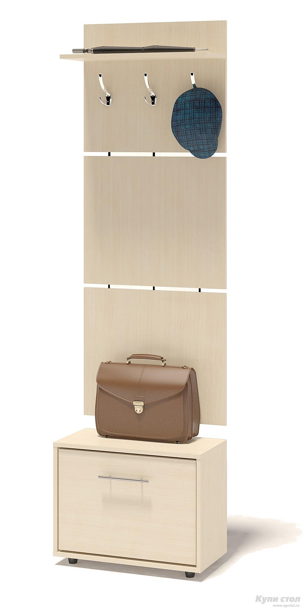 Прихожая Сокол ТП-1 + ВШ-5.1 Беленый дубПрихожие в коридор<br>Габаритные размеры ВхШхГ 1961x600x287 мм. Навесная вешалка, выполненная в современном стиле.  Позволит разместить сезонную одежду всей семьи.  Вешалка состоит из 3-х панелей соединенных металлическими вставками.  Полка, закрепленная над крючками для одежды, предназначена специально для головных уборов и зонтов.  Максимальная нагрузка на полку составляет 5кг.  Компактная тумба для обуви, шириной 600 мм.  Дверь оснащена откидывающимся механизмом со специальными полками для размещения обуви, который обеспечивает удобство хранения и легкий доступ к необходимой паре кроссовок или туфлей.  Изделие поставляется в разобранном виде.  Хорошо упаковано в гофротару вместе с необходимой фурнитурой для сборки и подробной инструкцией.   Изготовлена из высококачественной ДСП 16 мм.   Отделывается кромкой ПВХ 0. 4 мм.   Поставляется в разобранном виде Рекомендуем сохранить инструкцию по сборке (паспорт изделия) до истечения гарантийного срока.<br><br>Цвет: Светлое дерево<br>Высота мм: 1961<br>Ширина мм: 600<br>Глубина мм: 287<br>Кол-во упаковок: 2<br>Форма поставки: В разобранном виде<br>Срок гарантии: 2 года<br>Тип: Прямые<br>Характеристика: Модульные<br>Материал: ЛДСП<br>Размер: Узкие<br>Размер: Глубина до 30 см<br>Размер: Глубина до 35 см<br>С открытой вешалкой: Да<br>С обувницей: Да<br>Без шкафа: Да<br>Стиль: Современный
