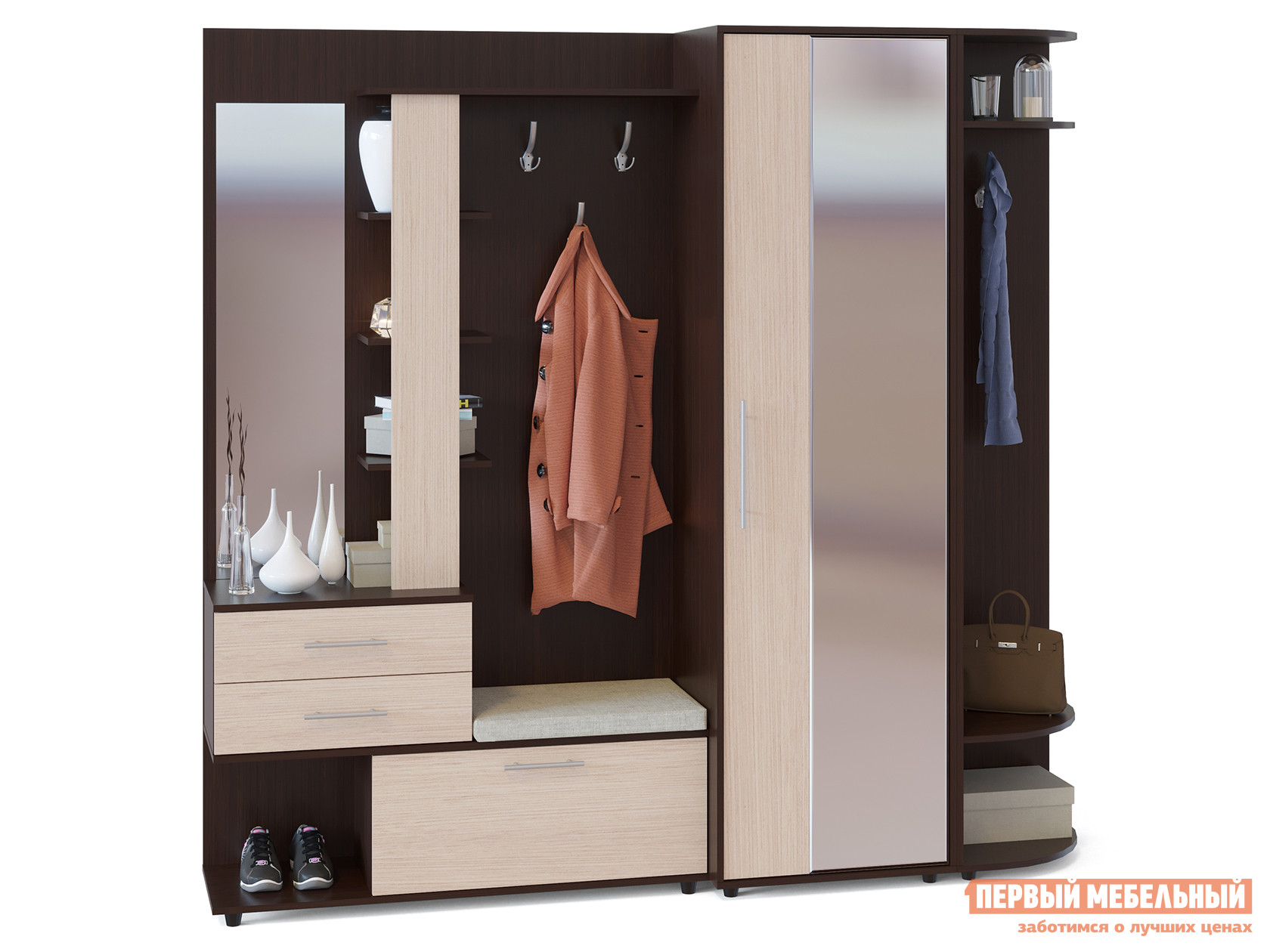 Прихожая в коридор Сокол ВШ-11 + ШО-2 + ШС-1 шкаф для одежды сокол шо 1 испанский орех