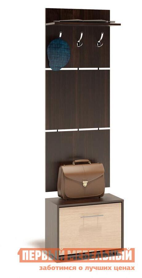 Прихожая Сокол ТП-1 + ВШ-5.1 Корпус Венге / Фасад Беленый дубПрихожие в коридор<br>Габаритные размеры ВхШхГ 1961x600x287 мм. Навесная вешалка, выполненная в современном стиле.  Позволит разместить сезонную одежду всей семьи.  Вешалка состоит из 3-х панелей соединенных металлическими вставками.  Полка, закрепленная над крючками для одежды, предназначена специально для головных уборов и зонтов.  Максимальная нагрузка на полку составляет 5кг.  Компактная тумба для обуви, шириной 600 мм.  Дверь оснащена откидывающимся механизмом со специальными полками для размещения обуви, который обеспечивает удобство хранения и легкий доступ к необходимой паре кроссовок или туфлей.  Изделие поставляется в разобранном виде.  Хорошо упаковано в гофротару вместе с необходимой фурнитурой для сборки и подробной инструкцией.   Изготовлена из высококачественной ДСП 16 мм.   Отделывается кромкой ПВХ 0. 4 мм.   Поставляется в разобранном виде.  Рекомендуем сохранить инструкцию по сборке (паспорт изделия) до истечения гарантийного срока.<br><br>Цвет: Темное-cветлое дерево<br>Высота мм: 1961<br>Ширина мм: 600<br>Глубина мм: 287<br>Кол-во упаковок: 2<br>Форма поставки: В разобранном виде<br>Срок гарантии: 2 года<br>Тип: Прямые<br>Характеристика: Модульные<br>Материал: ЛДСП<br>Размер: Маленькие<br>Размер: Узкие<br>Размер: Глубина до 30 см<br>Размер: Глубина до 35 см<br>С открытой вешалкой: Да<br>На ножках: Да<br>С обувницей: Да<br>Без шкафа: Да<br>Стиль: Современный