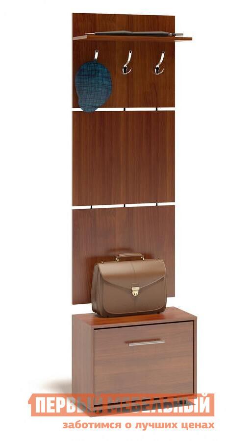 Прихожая Сокол ТП-1 + ВШ-5.1 Испанский орехПрихожие в коридор<br>Габаритные размеры ВхШхГ 1961x600x287 мм. Навесная вешалка, выполненная в современном стиле.  Позволит разместить сезонную одежду всей семьи.  Вешалка состоит из 3-х панелей соединенных металлическими вставками.  Полка, закрепленная над крючками для одежды, предназначена специально для головных уборов и зонтов.  Максимальная нагрузка на полку составляет 5кг.  Компактная тумба для обуви, шириной 600 мм.  Дверь оснащена откидывающимся механизмом со специальными полками для размещения обуви, который обеспечивает удобство хранения и легкий доступ к необходимой паре кроссовок или туфлей.  Изделие поставляется в разобранном виде.  Хорошо упаковано в гофротару вместе с необходимой фурнитурой для сборки и подробной инструкцией.   Изготовлена из высококачественной ДСП 16 мм.   Отделывается кромкой ПВХ 0. 4 мм.   Поставляется в разобранном виде.  Рекомендуем сохранить инструкцию по сборке (паспорт изделия) до истечения гарантийного срока.<br><br>Цвет: Красное дерево<br>Высота мм: 1961<br>Ширина мм: 600<br>Глубина мм: 287<br>Кол-во упаковок: 2<br>Форма поставки: В разобранном виде<br>Срок гарантии: 2 года<br>Тип: Прямые<br>Характеристика: Модульные<br>Материал: ЛДСП<br>Размер: Маленькие<br>Размер: Узкие<br>Размер: Глубина до 30 см<br>Размер: Глубина до 35 см<br>С открытой вешалкой: Да<br>На ножках: Да<br>С обувницей: Да<br>Без шкафа: Да<br>Стиль: Современный