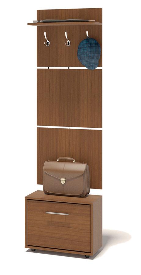 Прихожая Сокол ТП-1 + ВШ-5.1 Ноче-эккоПрихожие в коридор<br>Габаритные размеры ВхШхГ 1961x600x287 мм. Навесная вешалка, выполненная в современном стиле.  Позволит разместить сезонную одежду всей семьи.  Вешалка состоит из 3-х панелей соединенных металлическими вставками.  Полка, закрепленная над крючками для одежды, предназначена специально для головных уборов и зонтов.  Максимальная нагрузка на полку составляет 5кг.  Компактная тумба для обуви, шириной 600 мм.  Дверь оснащена откидывающимся механизмом со специальными полками для размещения обуви, который обеспечивает удобство хранения и легкий доступ к необходимой паре кроссовок или туфлей.  Изделие поставляется в разобранном виде.  Хорошо упаковано в гофротару вместе с необходимой фурнитурой для сборки и подробной инструкцией.   Изготовлена из высококачественной ДСП 16 мм.   Отделывается кромкой ПВХ 0. 4 мм.   Поставляется в разобранном виде.  Рекомендуем сохранить инструкцию по сборке (паспорт изделия) до истечения гарантийного срока.<br><br>Цвет: Ноче-экко<br>Цвет: Коричневое дерево<br>Высота мм: 1961<br>Ширина мм: 600<br>Глубина мм: 287<br>Кол-во упаковок: 2<br>Форма поставки: В разобранном виде<br>Срок гарантии: 2 года<br>Тип: Прямые<br>Характеристика: Модульные<br>Материал: из ЛДСП<br>Размер: Маленькие, Узкие, Глубиной до 30 см, Глубиной до 35 см<br>Особенности: С открытой вешалкой, На ножках, С обувницей, Без шкафа<br>Стиль: Современный
