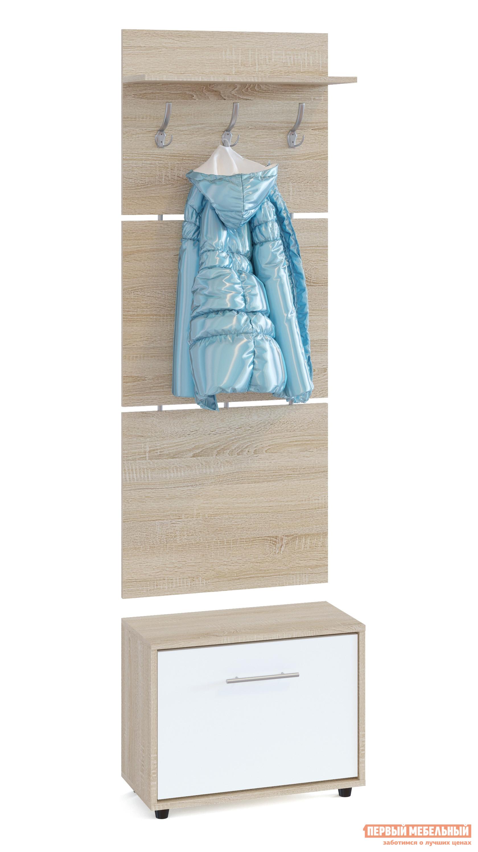 Прихожая Сокол ТП-1 + ВШ-5.1 Дуб Сонома / БелыйПрихожие в коридор<br>Габаритные размеры ВхШхГ 1961x600x287 мм. Навесная вешалка, выполненная в современном стиле.  Позволит разместить сезонную одежду всей семьи.  Вешалка состоит из 3-х панелей соединенных металлическими вставками.  Полка, закрепленная над крючками для одежды, предназначена специально для головных уборов и зонтов.  Максимальная нагрузка на полку составляет 5кг.  Компактная тумба для обуви, шириной 600 мм.  Дверь оснащена откидывающимся механизмом со специальными полками для размещения обуви, который обеспечивает удобство хранения и легкий доступ к необходимой паре кроссовок или туфлей.  Изделие поставляется в разобранном виде.  Хорошо упаковано в гофротару вместе с необходимой фурнитурой для сборки и подробной инструкцией.   Изготовлена из высококачественной ДСП 16 мм.   Отделывается кромкой ПВХ 0. 4 мм.   Поставляется в разобранном виде.  Рекомендуем сохранить инструкцию по сборке (паспорт изделия) до истечения гарантийного срока.<br><br>Цвет: Белый<br>Цвет: Светлое дерево<br>Высота мм: 1961<br>Ширина мм: 600<br>Глубина мм: 287<br>Кол-во упаковок: 2<br>Форма поставки: В разобранном виде<br>Срок гарантии: 2 года<br>Тип: Прямые<br>Характеристика: Модульные<br>Материал: ЛДСП<br>Размер: Маленькие<br>Размер: Узкие<br>Размер: Глубина до 30 см<br>Размер: Глубина до 35 см<br>С открытой вешалкой: Да<br>На ножках: Да<br>С обувницей: Да<br>Без шкафа: Да<br>Стиль: Современный