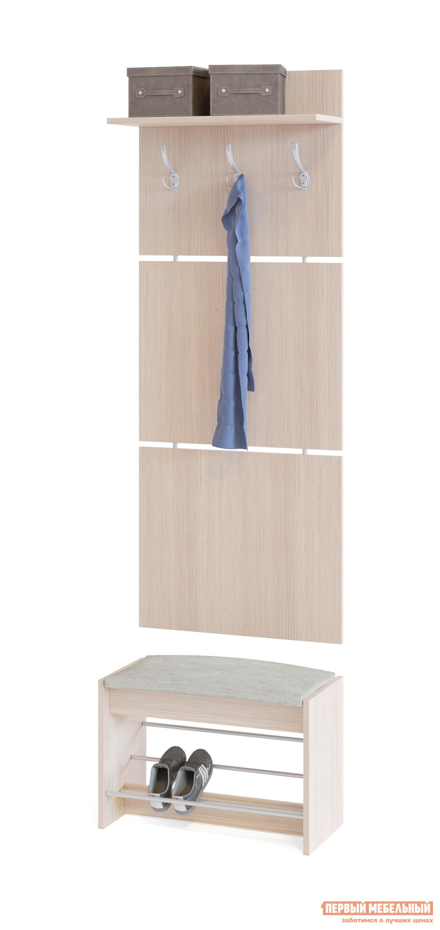 Прихожая Сокол ВШ-5.1+ТП-5 Беленый дубПрихожие в коридор<br>Габаритные размеры ВхШхГ 1898x600x281 мм. Настенная вешалка с обувницей — удобный вариант для маленькой прихожей.  Модель позволит разместить сезонную одежду всей семьи.  Вешалка состоит из 3-х панелей соединенных металлическими вставками.  Полка, закрепленная над крючками для одежды, предназначена специально для головных уборов и зонтов.  Максимальная нагрузка на полку составляет 5 кг. Обувница имеет мягкое сидением, на котором удобно будет переобуваться.  Открытые полочки позволяют разместить до четырех пар обуви.  Максимальная нагрузка на обувницу — 120 кг. Модули изготавливаются из ЛДСП 16 мм, края обработаны кромкой ПВХ 0,4 мм.  Наполнение мягкого элемента на обувнице — ППУ, обивка — ткань рогожка.  Рекомендуем сохранить инструкцию по сборке (паспорт изделия) до истечения гарантийного срока.<br><br>Цвет: Беленый дуб<br>Цвет: Светлое дерево<br>Высота мм: 1898<br>Ширина мм: 600<br>Глубина мм: 281<br>Кол-во упаковок: 2<br>Форма поставки: В разобранном виде<br>Срок гарантии: 2 года<br>Тип: Прямые<br>Характеристика: Модульные<br>Материал: из ЛДСП<br>Размер: Маленькие, Узкие, Глубиной до 30 см, Глубиной до 35 см<br>Особенности: С сиденьем, С открытой вешалкой, С обувницей, Без шкафа