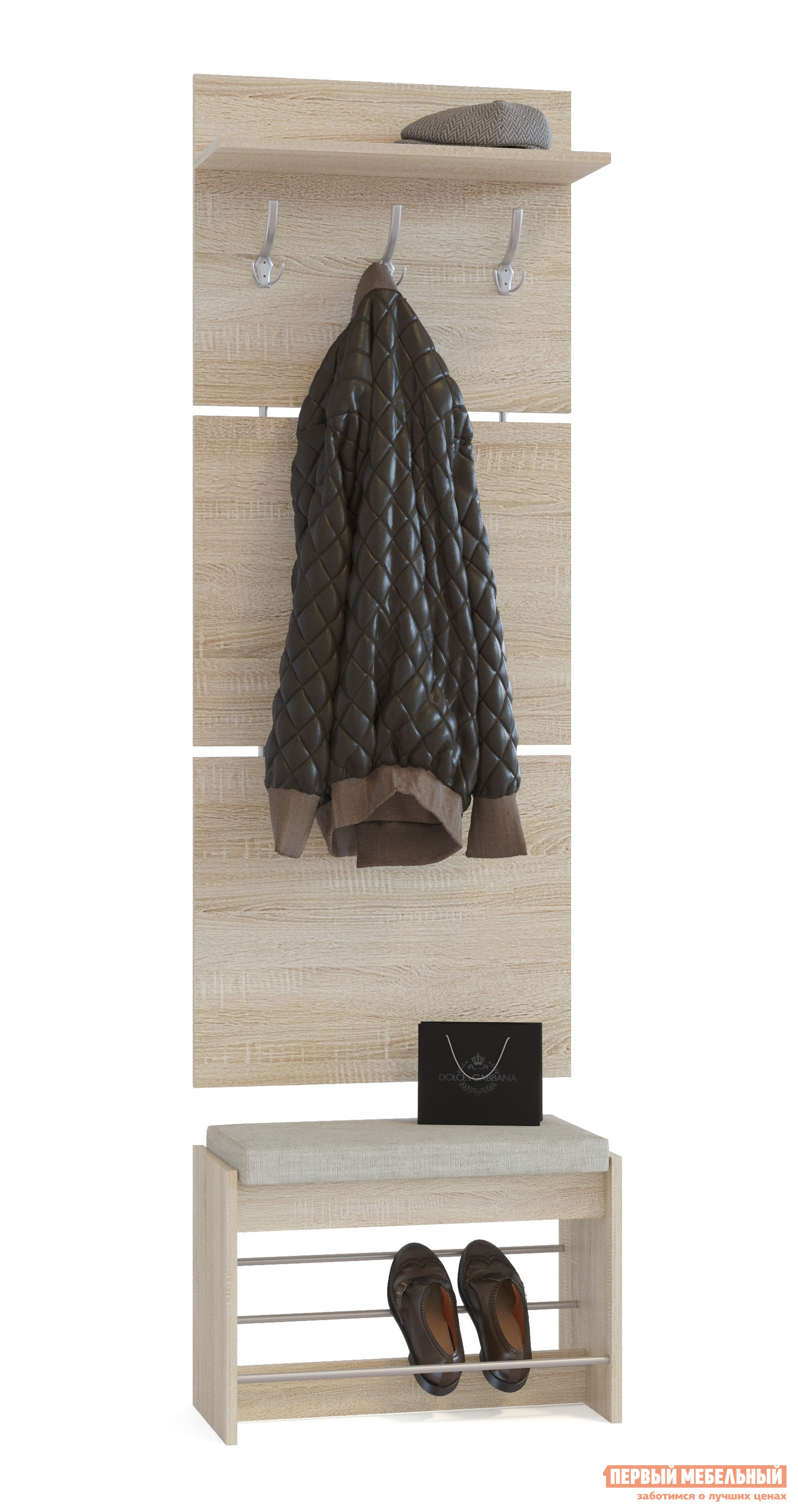 Прихожая Сокол ВШ-5.1+ТП-5 Дуб сономаПрихожие в коридор<br>Габаритные размеры ВхШхГ 1898x600x281 мм. Настенная вешалка с обувницей — удобный вариант для маленькой прихожей.  Модель позволит разместить сезонную одежду всей семьи.  Вешалка состоит из 3-х панелей соединенных металлическими вставками.  Полка, закрепленная над крючками для одежды, предназначена специально для головных уборов и зонтов.  Максимальная нагрузка на полку составляет 5 кг. Обувница имеет мягкое сидением, на котором удобно будет переобуваться.  Открытые полочки позволяют разместить до четырех пар обуви.  Максимальная нагрузка на обувницу — 120 кг. Модули изготавливаются из ЛДСП 16 мм, края обработаны кромкой ПВХ 0,4 мм.  Наполнение мягкого элемента на обувнице — ППУ, обивка — ткань рогожка.  Рекомендуем сохранить инструкцию по сборке (паспорт изделия) до истечения гарантийного срока.<br><br>Цвет: Дуб сонома<br>Цвет: Светлое дерево<br>Высота мм: 1898<br>Ширина мм: 600<br>Глубина мм: 281<br>Кол-во упаковок: 2<br>Форма поставки: В разобранном виде<br>Срок гарантии: 2 года<br>Тип: Прямые<br>Характеристика: Модульные<br>Материал: из ЛДСП<br>Размер: Маленькие, Узкие, Глубиной до 30 см, Глубиной до 35 см<br>Особенности: С сиденьем, С открытой вешалкой, С обувницей, Без шкафа