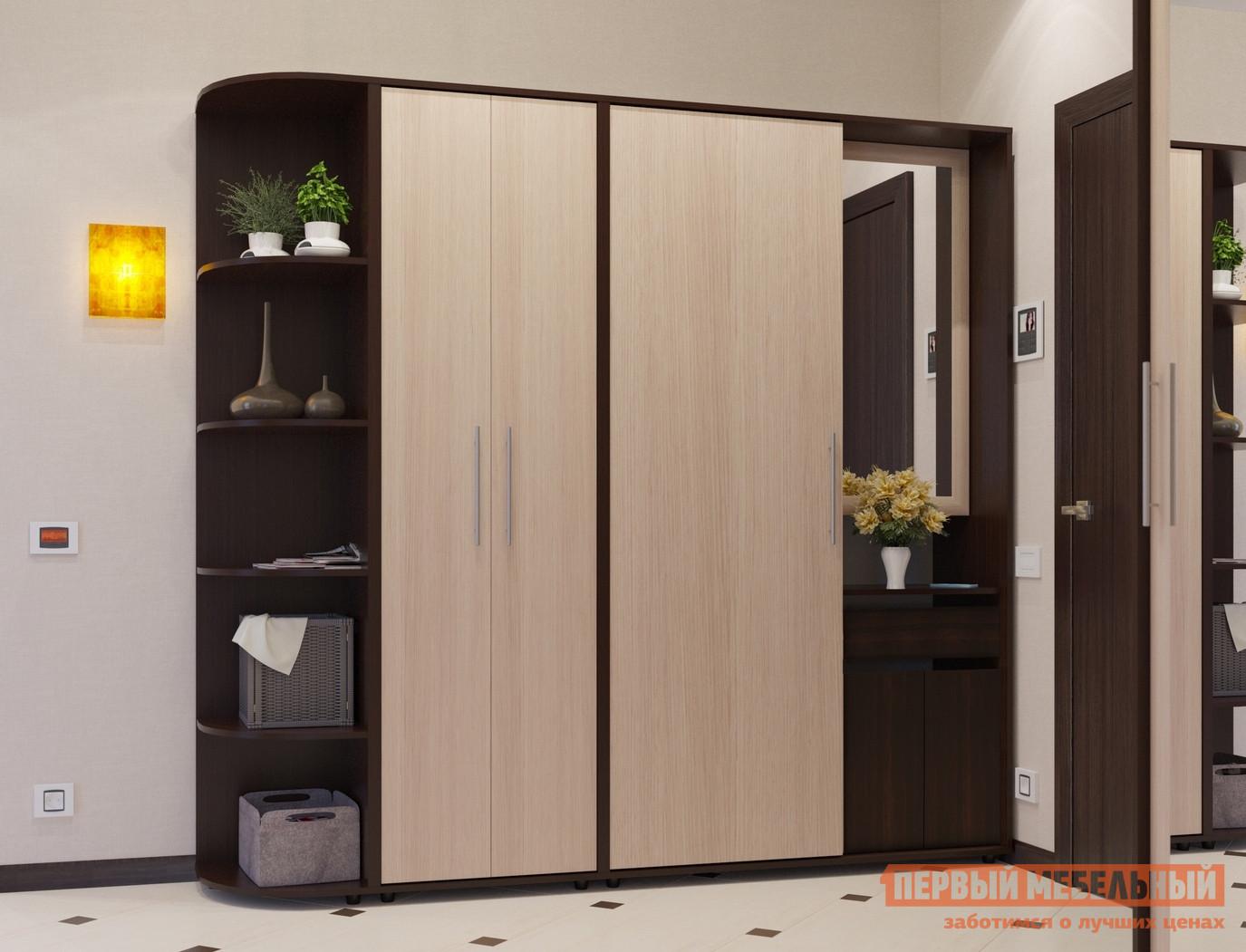 Прихожая Сокол ВШ-4 + ШО-1 + ШС-1 Корпус Венге / Фасад Беленый дубПрихожие в коридор<br>Габаритные размеры ВхШхГ 2087x2154x429 мм. Вместительная модульная прихожая, состоящая из углового стеллажа и двух шкафов: с дверью-купе и распашными дверями.   Двустворчатый шкаф и стеллаж может быть расположен как с левой, так и с правой стороны.  Дверь купе спрячет верхнюю одежду, придав вашему интерьеру аккуратный и законченный вид.  Отказ от использования ручек на дверках и ящиках позволил максимально увеличить полезное пространство.  За открывающимся зеркалом Вы  найдете несколько полочек для всего, что нужно взять с собой выходя из дома. Размеры модулей:шкаф-купе (ВхШхГ): 2087 х 1140 х 425 мм;распашной шкаф (ВхШхГ): 2087 х 600 х 429 мм;угловой стеллаж (ВхШхГ): 2087 х 414 х 425 мм. Изделие поставляется в разобранном виде.  Хорошо упаковано в гофротару вместе с необходимой фурнитурой для сборки и подробной инструкцией.   Изготовлена из высококачественной ДСП 16мм  Отделывается кромкой ПВХ 0. 4ммОбратите внимание! При заказе сборки, к стоимости услуги прибавляется 100 руб.  за соединений секций шкафа 2-мя стяжками.  Рекомендуем сохранить инструкцию по сборке (паспорт изделия) до истечения гарантийного срока.<br><br>Цвет: Темное-cветлое дерево<br>Высота мм: 2087<br>Ширина мм: 2154<br>Глубина мм: 429<br>Кол-во упаковок: 5<br>Форма поставки: В разобранном виде<br>Срок гарантии: 2 года<br>Тип: Прямые<br>Тип: Закрытые<br>Характеристика: Модульные<br>Материал: ЛДСП<br>Размер: Большие<br>Размер: Глубина до 45 см<br>Размер: Глубина до 50 см<br>Размер: Ширина 2 метра<br>С зеркалом: Да<br>С открытой вешалкой: Да<br>Со шкафом-купе: Да<br>На ножках: Да<br>Со шкафом: Да<br>С распашным шкафом: Да<br>Стиль: Современный