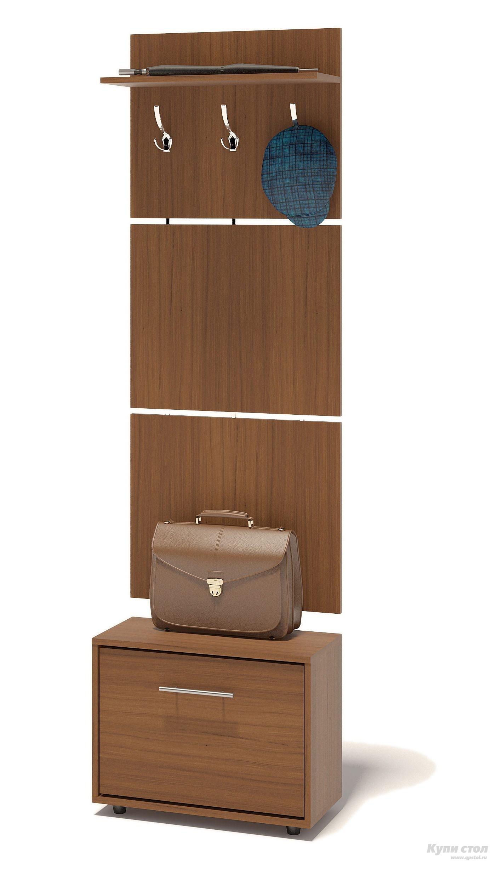 Прихожая Сокол ТП-1 + ВШ-5.1 Ноче-эккоПрихожие в коридор<br>Габаритные размеры ВхШхГ 1961x600x287 мм. Навесная вешалка, выполненная в современном стиле.  Позволит разместить сезонную одежду всей семьи.  Вешалка состоит из 3-х панелей соединенных металлическими вставками.  Полка, закрепленная над крючками для одежды, предназначена специально для головных уборов и зонтов.  Максимальная нагрузка на полку составляет 5кг.  Компактная тумба для обуви, шириной 600 мм.  Дверь оснащена откидывающимся механизмом со специальными полками для размещения обуви, который обеспечивает удобство хранения и легкий доступ к необходимой паре кроссовок или туфлей.  Изделие поставляется в разобранном виде.  Хорошо упаковано в гофротару вместе с необходимой фурнитурой для сборки и подробной инструкцией.   Изготовлена из высококачественной ДСП 16 мм.   Отделывается кромкой ПВХ 0. 4 мм.   Поставляется в разобранном виде.  Рекомендуем сохранить инструкцию по сборке (паспорт изделия) до истечения гарантийного срока.<br><br>Цвет: Коричневое дерево<br>Высота мм: 1961<br>Ширина мм: 600<br>Глубина мм: 287<br>Кол-во упаковок: 2<br>Форма поставки: В разобранном виде<br>Срок гарантии: 2 года<br>Тип: Прямые<br>Характеристика: Модульные<br>Материал: ЛДСП<br>Размер: Узкие<br>Размер: Глубина до 30 см<br>Размер: Глубина до 35 см<br>С открытой вешалкой: Да<br>С обувницей: Да<br>Без шкафа: Да<br>Стиль: Современный