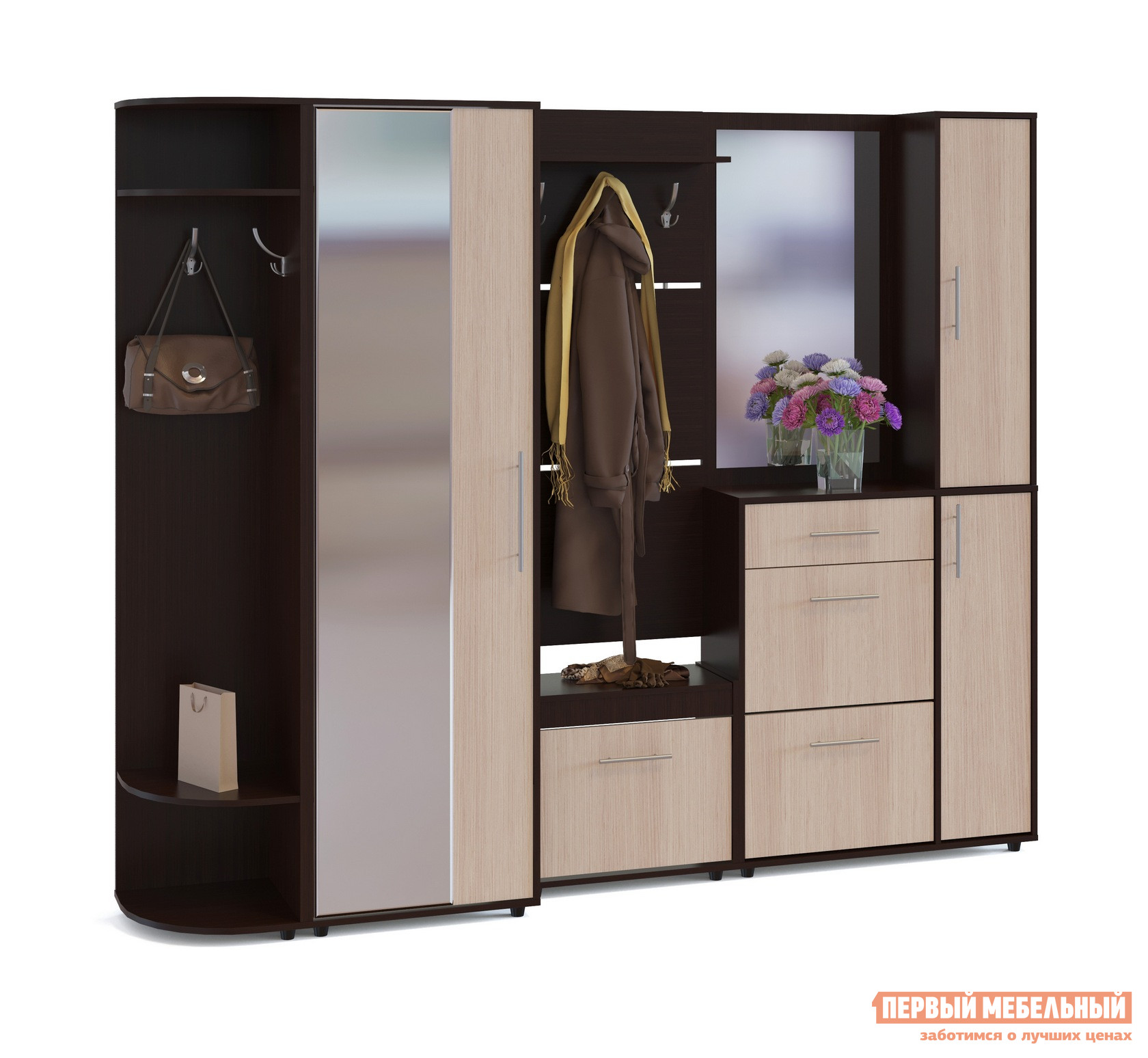 Прихожая Сокол ВШ-5.1+ТП-6+ТП-4+ПЗ-4+ШО-2+ШС-1 Венге / Беленый дубПрихожие в коридор<br>Габаритные размеры ВхШхГ 2087x2214x429 мм. Большой функциональный комплект мебели для прихожей выполнен в стильном сочетании контрастных оттенков и гармонично дополнит любой интерьер.  В составе гарнитура есть все необходимые элементы для организации порядка в вещах, обуви и аксессуарах. Размеры элементов:Распашной шкаф (ВхШхГ): 2087 х 600 х 429 мм. Настенная вешалка (ВхШхГ): 1460 х 600 х 212 мм. Малая обувница (ВхШхГ): 555 х 600 х 283 мм. Большая обувница (ВхШхГ): 1043 х 900 х 287 мм. Настенное зеркало со шкафчиком (ВхШхГ): 1044 х 900 х 287 мм. Угловой стеллаж (ВхШхГ): 2087 х 414 х 425 мм. Модуль с зеркалом универсален, шкафчик может располагаться как с правой, так и с левой стороны. В шкафу есть выдвижная штанга и две полки.  Малая обувница имеет нишу под крышкой.  Также ее можно использовать в качестве банкетки для переобувания.  Максимальная нагрузка — 90 кг. Обратите внимание! Элементы не зависят друг от друга, и их можно располагать в любом порядке. Мебель изготавливается из ЛДСП толщиной 16 мм, края обработаны кромкой ПВХ 0,4 мм. Рекомендуем сохранить инструкцию по сборке (паспорт изделия) до истечения гарантийного срока.<br><br>Цвет: Темное-cветлое дерево<br>Высота мм: 2087<br>Ширина мм: 2214<br>Глубина мм: 429<br>Кол-во упаковок: 6<br>Форма поставки: В разобранном виде<br>Срок гарантии: 2 года<br>Тип: Прямые<br>Тип: Закрытые<br>Характеристика: Модульные<br>Материал: ЛДСП<br>Размер: Большие<br>Размер: Глубина до 45 см<br>Размер: Глубина до 50 см<br>С зеркалом: Да<br>С сиденьем: Да<br>С открытой вешалкой: Да<br>На ножках: Да<br>С обувницей: Да<br>Со шкафом: Да<br>С распашным шкафом: Да<br>Стиль: Современный<br>Стиль: Модерн