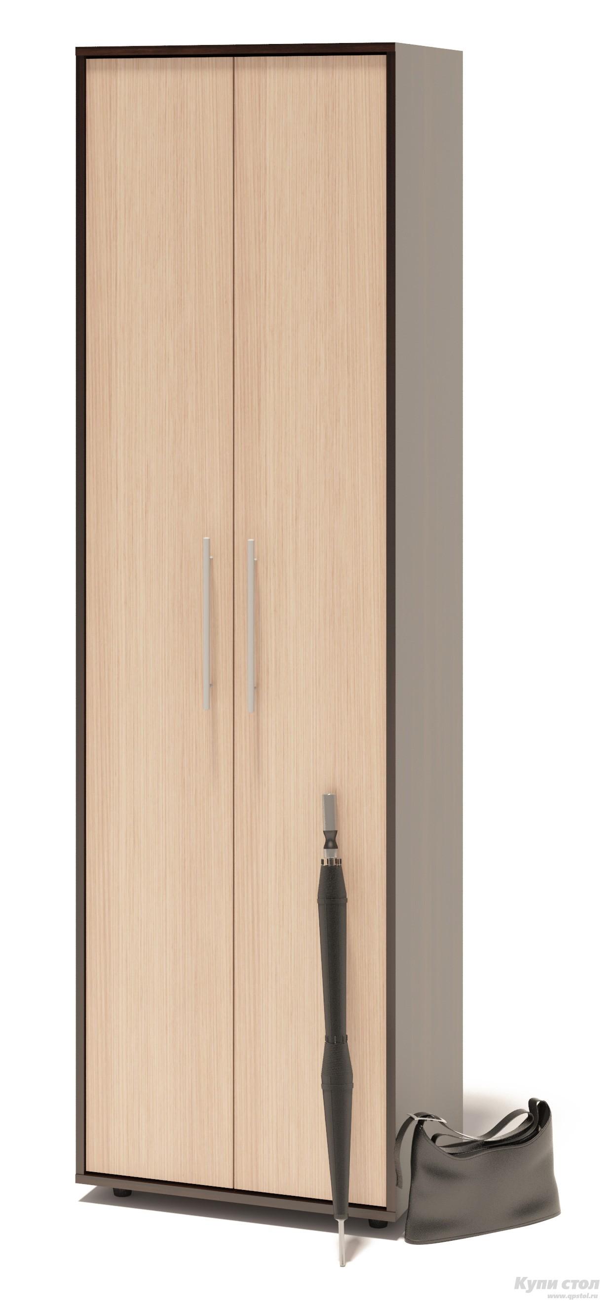 Шкаф распашной Сокол ШО-1 Корпус Венге / Фасад Беленый дубШкафы распашные<br>Габаритные размеры ВхШхГ 2087x600x429 мм. Шкаф для одежды, шириной 600 мм.  Шкаф оборудован двустворчатыми дверями.  Внутри шкафа расположены две полки и выдвижная вешалка.  Изделие поставляется в разобранном виде.  Хорошо упаковано в гофротару вместе с необходимой фурнитурой для сборки и подробной инструкцией.   Изготовлена из высококачественной ЛДСП 16мм  Отделывается кромкой ПВХ 0. 4мм Рекомендуем сохранить инструкцию по сборке (паспорт изделия) до истечения гарантийного срока.<br><br>Цвет: Корпус Венге / Фасад Беленый дуб<br>Цвет: Темное-cветлое дерево<br>Высота мм: 2087<br>Ширина мм: 600<br>Глубина мм: 429<br>Кол-во упаковок: 1<br>Форма поставки: В разобранном виде<br>Срок гарантии: 2 года