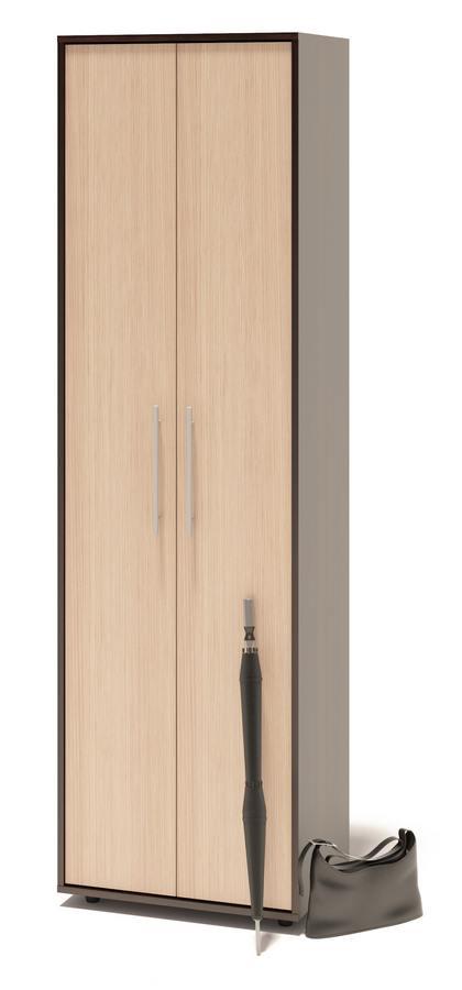 Шкаф распашной Сокол ШО-1 (с полками) Корпус Венге / Фасад Беленый дубШкафы распашные<br>Габаритные размеры ВхШхГ 2087x600x429 мм. Шкаф для одежды, шириной 600 мм.  Модель оборудована двустворчатыми дверями, за которыми расположены семь отделений.  Благодаря такому высокому и вместительному шкафу вы сможете разместить много вещей.  Модель можно подходит для меблировки как прихожей, так гостиной или спальни.  Изделие поставляется в разобранном виде.  Хорошо упаковано в гофротару вместе с необходимой фурнитурой для сборки и подробной инструкцией.   Изготовлена из высококачественной ЛДСП толщиной 16 мм.   Отделывается противоударной кромкой ПВХ 0. 4 мм.  Рекомендуем сохранить инструкцию по сборке (паспорт изделия) до истечения гарантийного срока.<br><br>Цвет: Корпус Венге / Фасад Беленый дуб<br>Цвет: Темное-cветлое дерево<br>Высота мм: 2087<br>Ширина мм: 600<br>Глубина мм: 429<br>Кол-во упаковок: 2<br>Форма поставки: В разобранном виде<br>Срок гарантии: 2 года<br>Тип: Прямые<br>Материал: из ЛДСП<br>Размер: Двухдверные