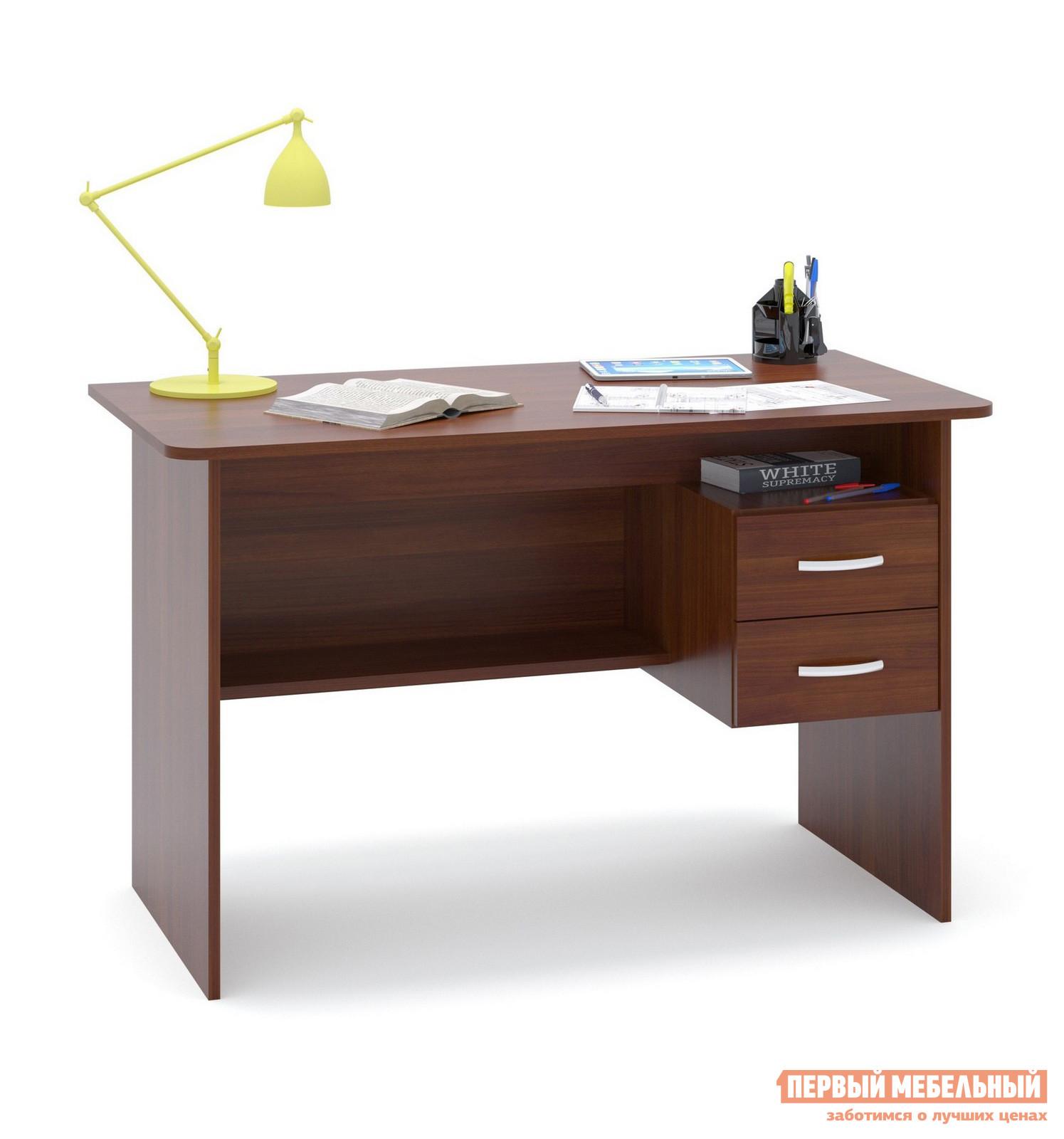 Письменный стол Сокол СПМ-07.1 Испанский орехПисьменные столы<br>Габаритные размеры ВхШхГ 740x1200x600 мм. Большой письменный стол со встроенной тумбой.  Внизу задней стенки также находится небольшая полочка.  Встроенная тумбы состоит из двух ящиков с открытой нишей сверху.  За таким столом удобно будет себя чувствовать и школьник и студент.  Стол также можно использовать как компьютерный. Внутренний размер ящиков — 211 х 354 мм. Высота от пола до ящиков составляет 290 мм, высота от пола до полки под столом — 310 мм. Высота полочки над ящиками — 124 мм. Стол универсален при сборке, тумбу можно расположить с любой стороны. Столешница изготовлена из ЛДСП отечественного производства толщиной 16 мм, отделана кромкой ПВХ 2 мм.  Рекомендуем сохранить инструкцию по сборке (паспорт изделия) до истечения гарантийного срока.<br><br>Цвет: Испанский орех<br>Цвет: Красное дерево<br>Высота мм: 740<br>Ширина мм: 1200<br>Глубина мм: 600<br>Кол-во упаковок: 1<br>Форма поставки: В разобранном виде<br>Срок гарантии: 2 года<br>Тип: Прямые<br>Материал: Деревянные, из ЛДСП<br>Размер: Большие, Шириной 120 см<br>Особенности: С ящиками, Без надстройки, С тумбой<br>Стиль: Современный, Модерн