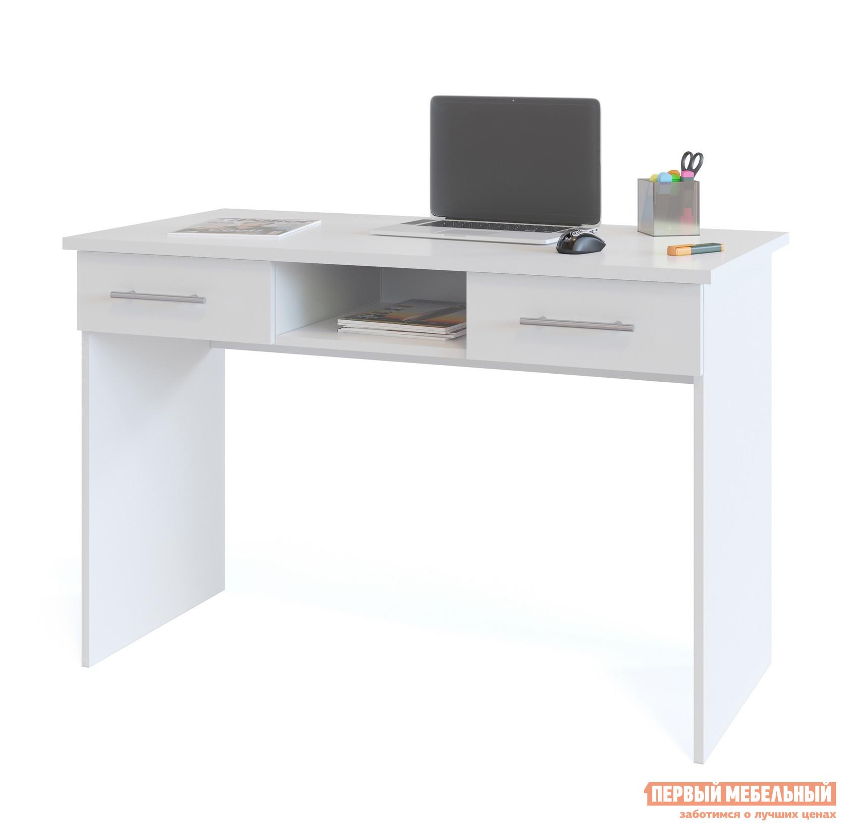 Письменный стол Сокол КСТ-107.1 БелыйПисьменные столы<br>Габаритные размеры ВхШхГ 790x1200x600 мм. Удобный письменный стол в белом исполнении может использоваться как для работы, так и для учебы.  Стол оснащен двумя выдвижными ящиками и нишей.  Это поможет вам максимально комфортно организовать рабочее место. Внутренний размер ящиков составляет 390 х 322 мм, что позволит разместить в них документы формата А4 и канцелярские принадлежности.  Глубина ниши — 486 мм. На столешнице предусмотрено два отверстия для вывода проводов.  При желании их можно закрыть заглушками, которые входят в комплект.  Столешница изготовлена из высококачественного ДСП отечественного производства толщиной 22 мм, края обработаны кромкой ПВХ 2 мм, остальные детали — ЛДСП 16 мм, кромка 0,4 мм.  Рекомендуем сохранить инструкцию по сборке (паспорт изделия) до истечения гарантийного срока.<br><br>Цвет: Белый<br>Высота мм: 790<br>Ширина мм: 1200<br>Глубина мм: 600<br>Кол-во упаковок: 1<br>Форма поставки: В разобранном виде<br>Срок гарантии: 2 года<br>Тип: Прямые<br>Материал: Дерево<br>Материал: ЛДСП<br>Размер: Маленькие<br>С ящиками: Да<br>Без надстройки: Да<br>Стиль: Современный<br>Стиль: Модерн