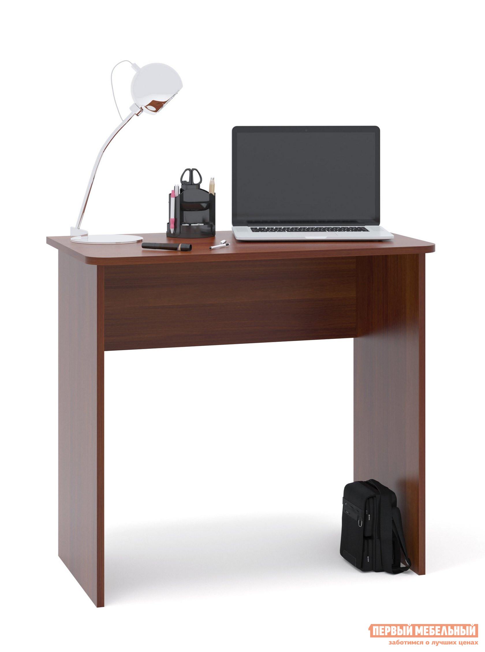 Письменный стол Сокол СПМ-08 Испанский орехПисьменные столы<br>Габаритные размеры ВхШхГ 740x800x446 мм. Небольшой письменный стол для работы или учебы.  Стол можно использовать как письменный или компьютерный.  Простая конструкция стола впишется в любой интерьер и не будет его загромождать лишними деталями. Столешница изготовлена из ЛДСП отечественного производства толщиной 16 мм, отделана кромкой ПВХ 2 мм.  Рекомендуем сохранить инструкцию по сборке (паспорт изделия) до истечения гарантийного срока.<br><br>Цвет: Красное дерево<br>Высота мм: 740<br>Ширина мм: 800<br>Глубина мм: 446<br>Кол-во упаковок: 1<br>Форма поставки: В разобранном виде<br>Срок гарантии: 2 года<br>Тип: Прямые<br>Материал: Дерево<br>Материал: ЛДСП<br>Размер: Маленькие<br>Размер: Ширина 80 см<br>Стиль: Современный<br>Стиль: Модерн