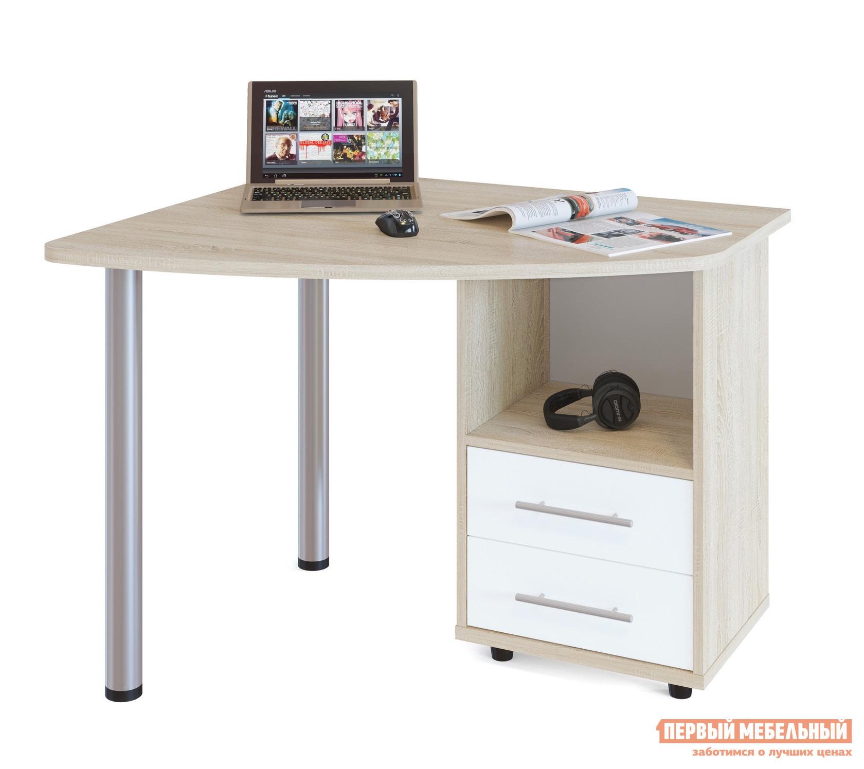 Письменный стол Сокол КСТ-102 Дуб Сонома / Белый, ПравыйПисьменные столы<br>Габаритные размеры ВхШхГ 750x1000x850 мм. Угловой стол для дома или офиса поможет вам удобно организовать рабочее место.  Конструкция смотрится не массивной из-за использования металлических опор.  Стол оборудован тумбой с двумя выдвижными ящиками.  Ширина по узкой части столешницы составляет 425 мм. Обратите внимание, что стол может быть правым и левым (определяется по расположению тумбы).  При заказе выберите наиболее удобный вариант. Изделие выполнено из ЛДСП.  Толщина столешницы 22 мм.  Рекомендуем сохранить инструкцию по сборке (паспорт изделия) до истечения гарантийного срока.<br><br>Цвет: Дуб Сонома / Белый<br>Цвет: Белый<br>Цвет: Светлое дерево<br>Высота мм: 750<br>Ширина мм: 1000<br>Глубина мм: 850<br>Кол-во упаковок: 2<br>Форма поставки: В разобранном виде<br>Срок гарантии: 2 года<br>Тип: Угловые<br>Материал: Деревянные, из ЛДСП<br>Размер: Маленькие, Шириной 100 см<br>Особенности: С ящиками, С тумбой, С металлическими ножками, На ножках<br>Стиль: Современный, Модерн