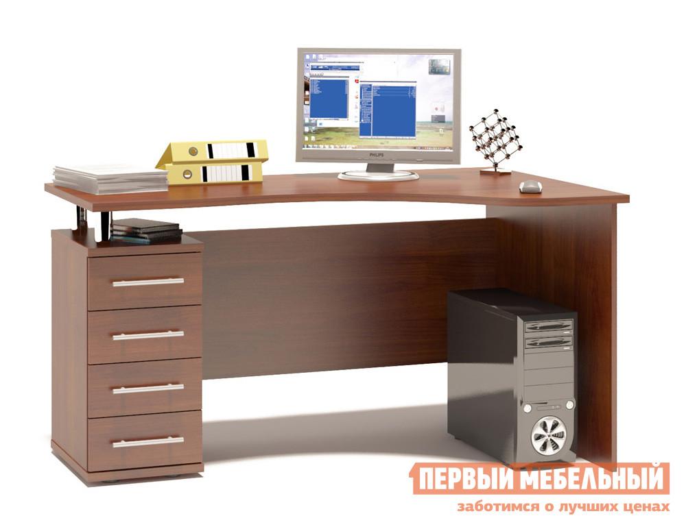 Письменный стол Сокол КСТ-104.1 Испанский орех, ПравыйПисьменные столы<br>Габаритные размеры ВхШхГ 750x1400x860 мм. Эргономичный компьютерный стол вместе с тумбой с выдвижными ящиками.  Столешница имеет анатомическую форму и изготовлена из высококачественного ДСП отечественного производства толщиной 22 мм, отделана кромкой ПВХ 2 мм.  Стол позволит организовать полноценное и удобное место для работы. Ширина столешницы по узкой стороне — 560 мм. Внутренний размер ящиков составляет 382 х 222 мм, что позволит разместить в них документы формата А4, канцелярские принадлежности и необходимые мелочи. Расстояние между креплениями ручек — 128 мм. Высота от пола до нижнего края задней стенки составляет 156 мм. Обратите внимание! Стол может быть в правостороннем или левостороннем исполнении.  На фото представлен левосторонний стол (ориентация по расположению тумбы). В столешнице есть отверстия для установки надстройки, если стол планируется использовать без надстройки, то отверстия закрываются заглушками (они входят в комплект).  Изделие поставляется в разобранном виде.  Хорошо упаковано вгофротару вместе с необходимой фурнитурой для сборки и подробной инструкцией.  Рекомендуем сохранить инструкцию по сборке (паспорт изделия) до истечения гарантийного срока.<br><br>Цвет: Испанский орех<br>Цвет: Красное дерево<br>Высота мм: 750<br>Ширина мм: 1400<br>Глубина мм: 860<br>Кол-во упаковок: 2<br>Форма поставки: В разобранном виде<br>Срок гарантии: 2 года<br>Тип: Угловые<br>Материал: Деревянные, из ЛДСП<br>Размер: Большие, Ширина 140 см<br>Особенности: С ящиками, Без надстройки, С тумбой<br>Стиль: Современный, Модерн