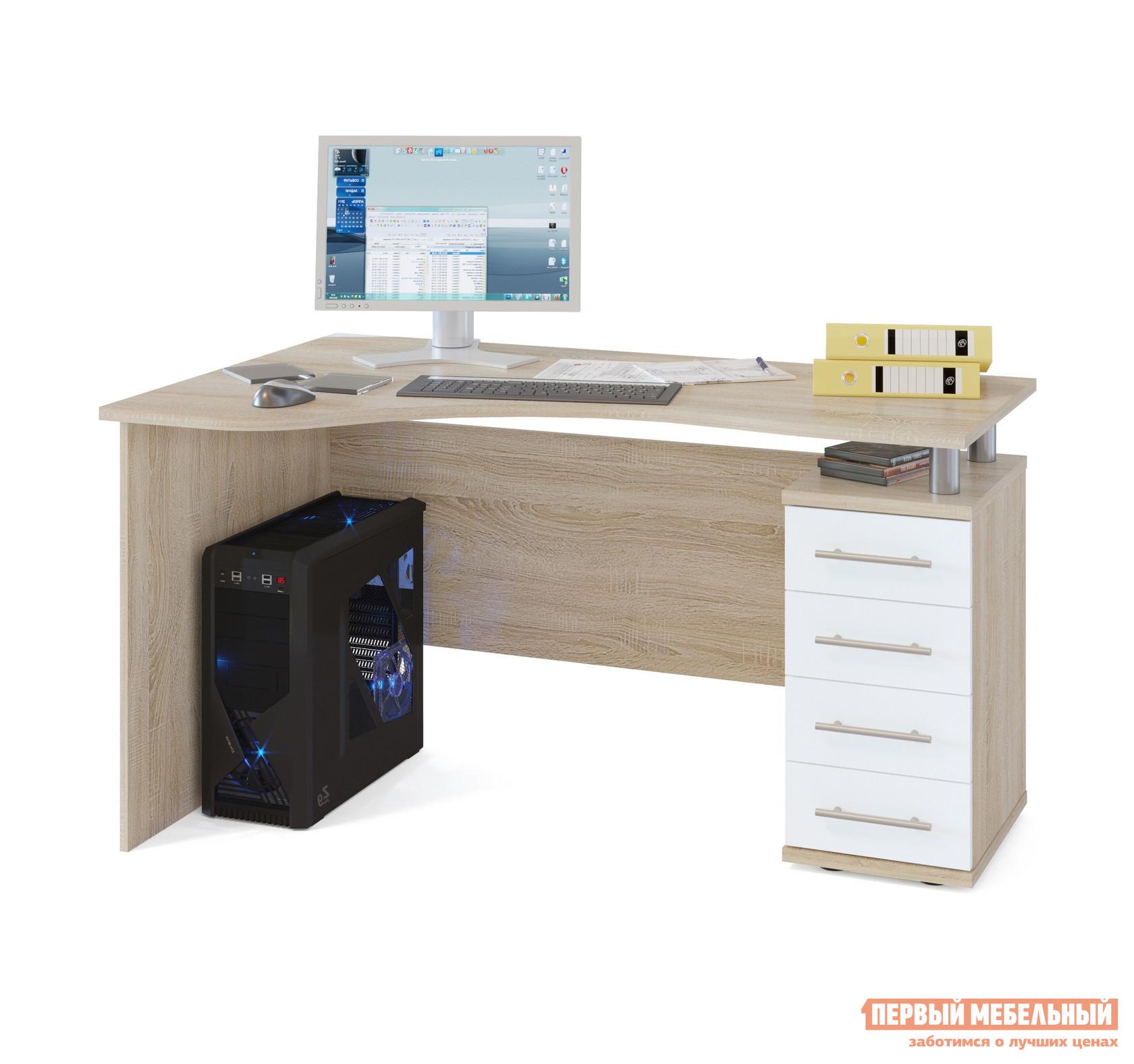 Письменный стол Сокол КСТ-104.1 Дуб Сонома / Белый, ПравыйПисьменные столы<br>Габаритные размеры ВхШхГ 750x1400x860 мм. Эргономичный компьютерный стол вместе с тумбой с выдвижными ящиками.  Столешница имеет анатомическую форму и изготовлена из высококачественного ДСП отечественного производства толщиной 22 мм, отделана кромкой ПВХ 2 мм.  Стол позволит организовать полноценное и удобное место для работы. Ширина столешницы по узкой стороне — 560 мм. Внутренний размер ящиков составляет 382 х 222 мм, что позволит разместить в них документы формата А4, канцелярские принадлежности и необходимые мелочи. Расстояние между креплениями ручек — 128 мм. Высота от пола до нижнего края задней стенки составляет 156 мм. Обратите внимание! Стол может быть в правостороннем или левостороннем исполнении.  На фото представлен левосторонний стол (ориентация по расположению тумбы). В столешнице есть отверстия для установки надстройки, если стол планируется использовать без надстройки, то отверстия закрываются заглушками (они входят в комплект).  Изделие поставляется в разобранном виде.  Хорошо упаковано вгофротару вместе с необходимой фурнитурой для сборки и подробной инструкцией.  Рекомендуем сохранить инструкцию по сборке (паспорт изделия) до истечения гарантийного срока.<br><br>Цвет: Белый<br>Цвет: Светлое дерево<br>Высота мм: 750<br>Ширина мм: 1400<br>Глубина мм: 860<br>Кол-во упаковок: 2<br>Форма поставки: В разобранном виде<br>Срок гарантии: 2 года<br>Тип: Угловые<br>Материал: Дерево<br>Материал: ЛДСП<br>Размер: Большие<br>Размер: Ширина 140 см<br>С ящиками: Да<br>Без надстройки: Да<br>С тумбой: Да<br>Стиль: Современный<br>Стиль: Модерн