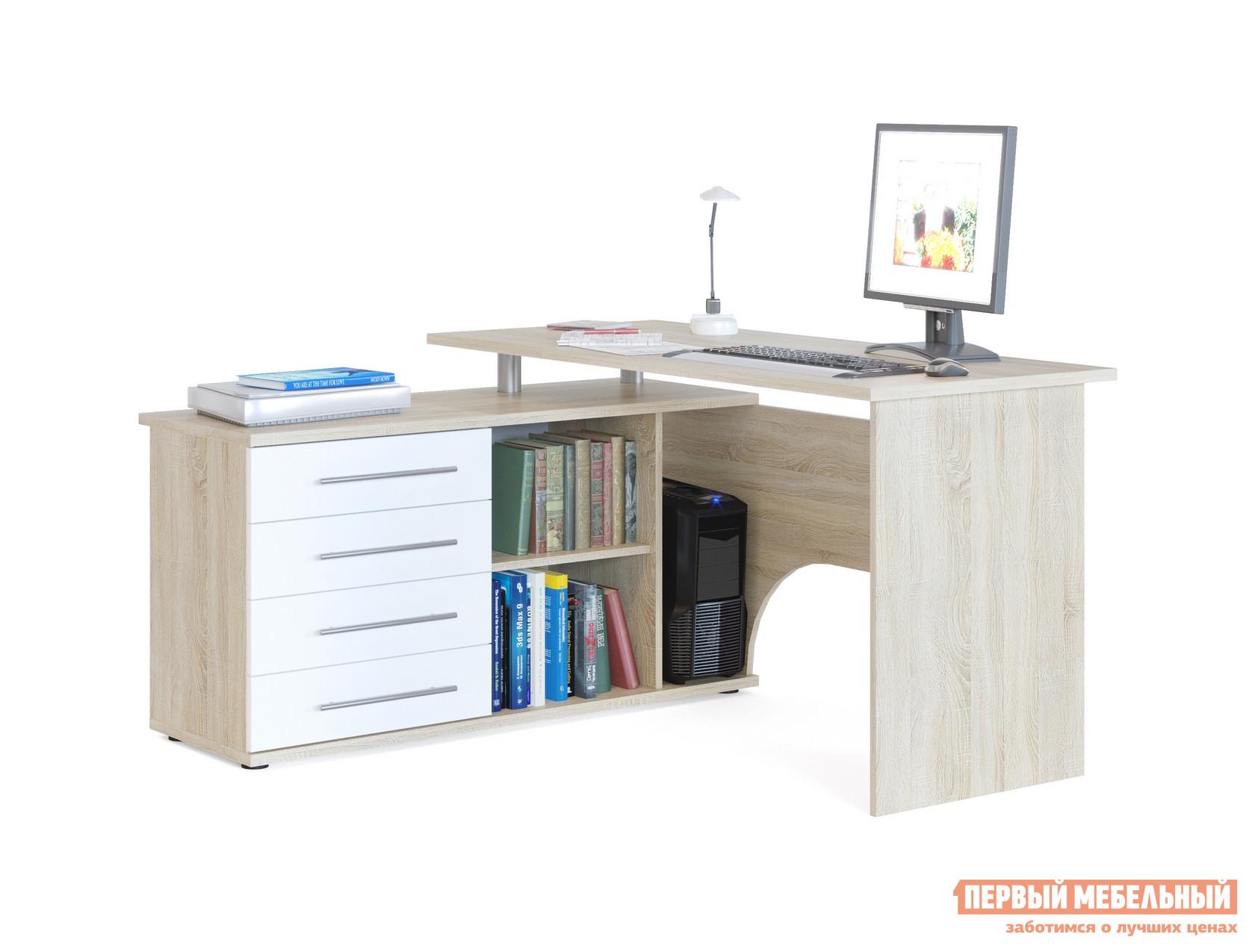 Письменный стол Сокол КСТ-109 Дуб Сонома / Белый, ПравыйПисьменные столы<br>Габаритные размеры ВхШхГ 750x1400x1270 мм. Угловой компьютерный стол с двумя рабочими поверхностями.  Основная столешница имеет ширину 1400 мм, позволяя разместить компьютер и рабочие материалы.  На малой столешнице — 1200 мм, удобно держать под рукой книги, папки, канцелярию. Стол оборудован тумбой с четырьмя ящиками, открытыми полками и нишей под системный блок.  Такая модель компьютерного стола позволяет организовать функциональную рабочую зону как в домашнем кабинете, так и в офисе. Особенность модели — задняя стенка из ЛДСП, что позволит расположить стол не только у стены, но и в любом удобном месте, не нарушая интерьерной композиции. Внутренний размер ящиков — 456 х 346 мм. Размер ниши под системный блок (ВхШхГ) — 565 х 220 х 440 мм. Обратите внимание! Стол может быть с правым или левым углом (определяется по расположению тумбы).  При оформлении заказа нужно выбрать необходимую ориентацию. Столешница и основание тумбы выполняются из ЛДСП 22 мм с кромкой ПВХ 2 мм, остальные детали — ЛДСП 16 мм с кромкой ПВХ 0,4 мм.   Рекомендуем сохранить инструкцию по сборке (паспорт изделия) до истечения гарантийного срока.<br><br>Цвет: Белый<br>Цвет: Светлое дерево<br>Высота мм: 750<br>Ширина мм: 1400<br>Глубина мм: 1270<br>Кол-во упаковок: 2<br>Форма поставки: В разобранном виде<br>Срок гарантии: 2 года<br>Тип: Угловые<br>Материал: Дерево<br>Материал: ЛДСП<br>Размер: Большие<br>Размер: Ширина 140 см<br>С ящиками: Да<br>Без надстройки: Да<br>С тумбой: Да<br>С полками: Да<br>Стиль: Современный<br>Стиль: Модерн
