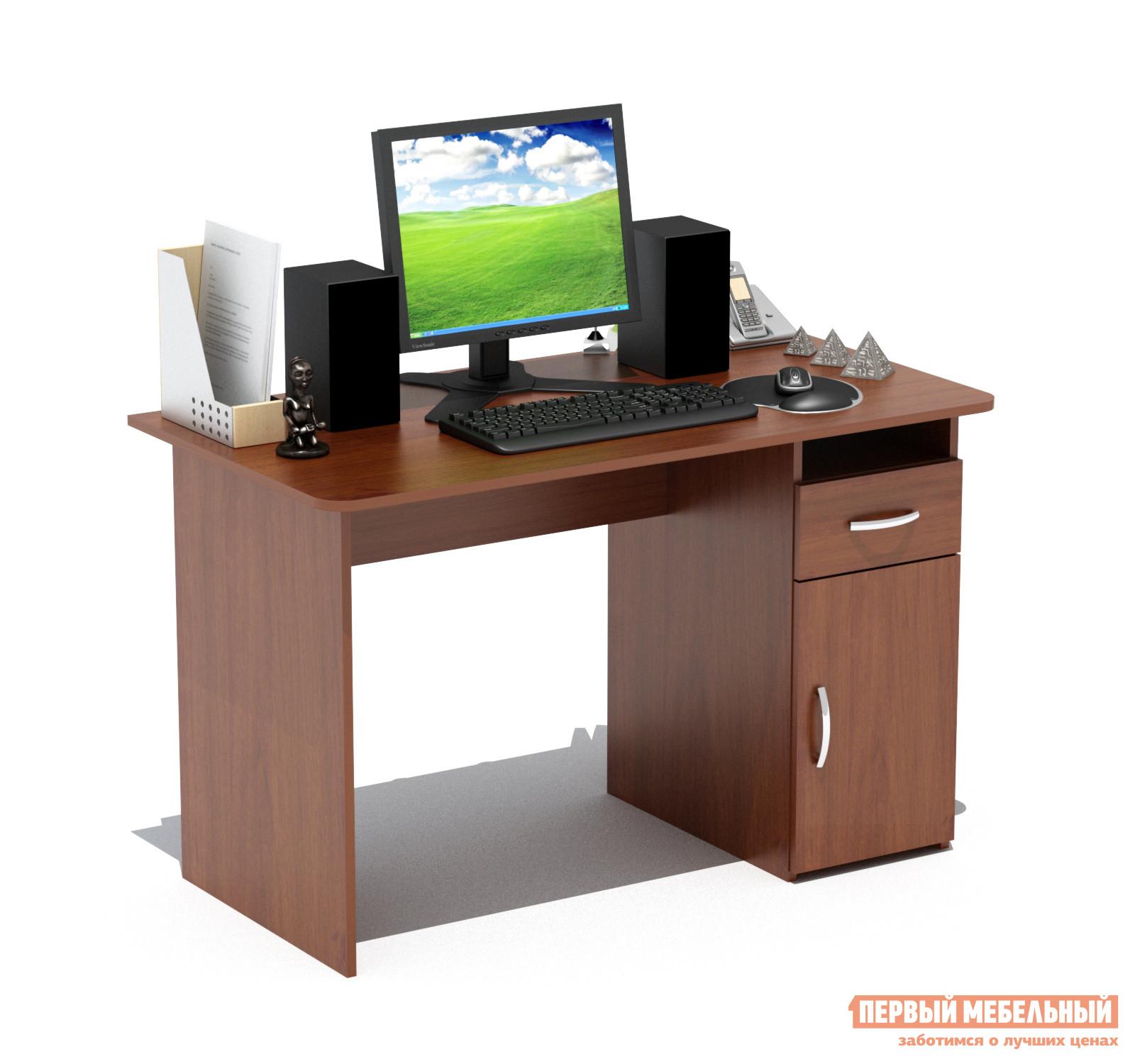 Письменный стол Сокол СПМ-03.1 Испанский орехПисьменные столы<br>Габаритные размеры ВхШхГ 740x1200x600 мм. Классический  письменный стол шириной  1200 мм со встроенной тумбой.  Просторная столешница позволит удобно расположиться за столом и работать с большим объемом документов.  Тумба оснащена  открытой нишей, выдвижным  ящиком и закрытой полкой. Внутренний размер ящика составляет 382 х 223 мм, что позволит разместить в нем документы формата А4, канцелярские принадлежности и необходимые мелочи. Стол универсален при сборке (вы можете расположить тумбу как справа, так и слева). Стол изготовлен из высококачественного ламинированного ДСП  российского производства толщиной 16 мм, края столешницы скруглены и отделаны противоударным кромкой ПВХ.  Изделие поставляется в разобранном виде.  Хорошо упаковано в гофротару вместе с необходимой фурнитурой и подробной инструкцией по сборке.  Простой строгий стол прекрасно впишется в интерьер комнаты или офиса.  Рекомендуем сохранить инструкцию по сборке (паспорт изделия) до истечения гарантийного срока.<br><br>Цвет: Красное дерево<br>Высота мм: 740<br>Ширина мм: 1200<br>Глубина мм: 600<br>Кол-во упаковок: 1<br>Форма поставки: В разобранном виде<br>Срок гарантии: 2 года<br>Тип: Прямые<br>Материал: Дерево<br>Материал: ЛДСП<br>Размер: Большие<br>Размер: Ширина 120 см<br>С ящиками: Да<br>Без надстройки: Да<br>С тумбой: Да<br>Стиль: Современный<br>Стиль: Модерн