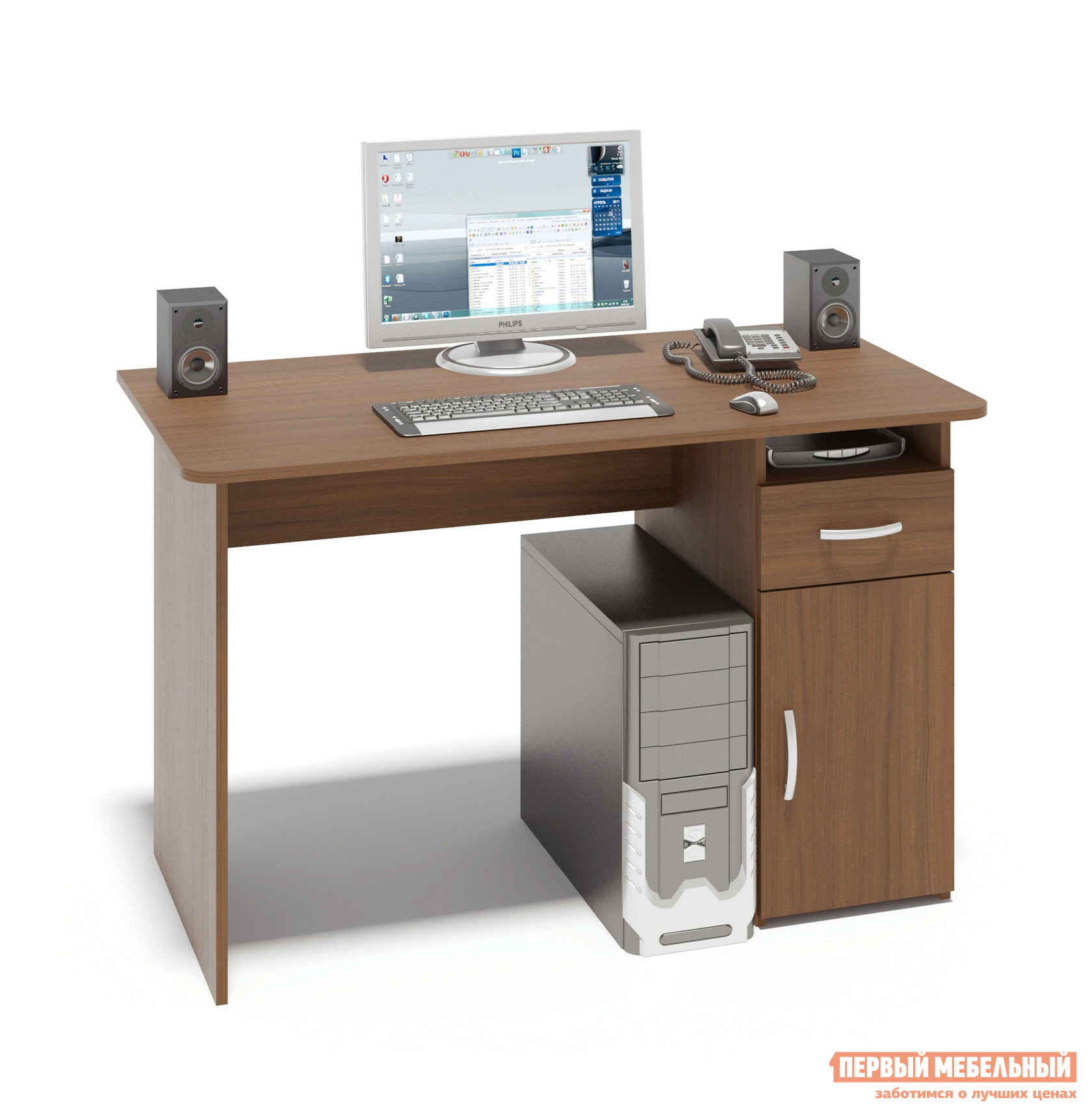 Письменный стол Сокол СПМ-03.1 Ноче-эккоПисьменные столы<br>Габаритные размеры ВхШхГ 740x1200x600 мм. Классический  письменный стол шириной  1200 мм со встроенной тумбой.  Просторная столешница позволит удобно расположиться за столом и работать с большим объемом документов.  Тумба оснащена  открытой нишей, выдвижным  ящиком и закрытой полкой. Внутренний размер ящика составляет 382 х 223 мм, что позволит разместить в нем документы формата А4, канцелярские принадлежности и необходимые мелочи. Стол универсален при сборке (вы можете расположить тумбу как справа, так и слева). Стол изготовлен из высококачественного ламинированного ДСП  российского производства толщиной 16 мм, края столешницы скруглены и отделаны противоударным кромкой ПВХ.  Изделие поставляется в разобранном виде.  Хорошо упаковано в гофротару вместе с необходимой фурнитурой и подробной инструкцией по сборке.  Простой строгий стол прекрасно впишется в интерьер комнаты или офиса.  Рекомендуем сохранить инструкцию по сборке (паспорт изделия) до истечения гарантийного срока.<br><br>Цвет: Коричневое дерево<br>Высота мм: 740<br>Ширина мм: 1200<br>Глубина мм: 600<br>Кол-во упаковок: 1<br>Форма поставки: В разобранном виде<br>Срок гарантии: 2 года<br>Тип: Прямые<br>Материал: Дерево<br>Материал: ЛДСП<br>Размер: Большие<br>Размер: Ширина 120 см<br>С ящиками: Да<br>Без надстройки: Да<br>С тумбой: Да<br>Стиль: Современный<br>Стиль: Модерн