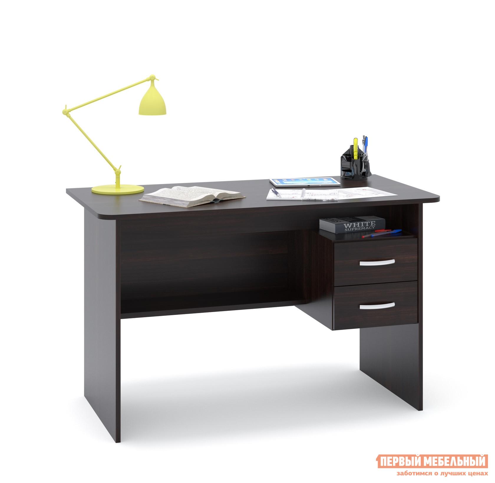 Письменный стол Сокол СПМ-07.1 ВенгеПисьменные столы<br>Габаритные размеры ВхШхГ 740x1200x600 мм. Большой письменный стол со встроенной тумбой.  Внизу задней стенки также находится небольшая полочка.  Встроенная тумбы состоит из двух ящиков с открытой нишей сверху.  За таким столом удобно будет себя чувствовать и школьник и студент.  Стол также можно использовать как компьютерный. Внутренний размер ящиков — 211 х 354 мм. Высота от пола до ящиков составляет 290 мм, высота от пола до полки под столом — 310 мм. Высота полочки над ящиками — 124 мм. Стол универсален при сборке, тумбу можно расположить с любой стороны. Стол изготовлен из ЛДСП отечественного производства толщиной 16 мм.  Края столешницы отделаны кромкой ПВХ 2 мм.  Для обработки торцов у остальных деталей используется кромка ПВХ 0,4 мм.  Рекомендуем сохранить инструкцию по сборке (паспорт изделия) до истечения гарантийного срока.<br><br>Цвет: Венге<br>Высота мм: 740<br>Ширина мм: 1200<br>Глубина мм: 600<br>Кол-во упаковок: 1<br>Форма поставки: В разобранном виде<br>Срок гарантии: 2 года<br>Тип: Прямые<br>Материал: Дерево<br>Материал: ЛДСП<br>Размер: Большие<br>Размер: Ширина 120 см<br>С ящиками: Да<br>Без надстройки: Да<br>С тумбой: Да<br>Стиль: Современный<br>Стиль: Модерн