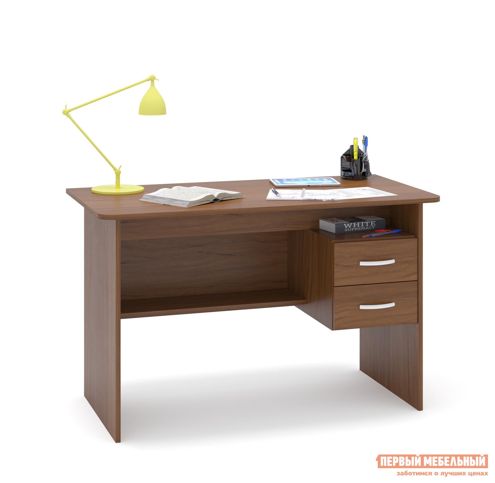 Письменный стол Сокол СПМ-07.1 Ноче-эккоПисьменные столы<br>Габаритные размеры ВхШхГ 740x1200x600 мм. Большой письменный стол со встроенной тумбой.  Внизу задней стенки также находится небольшая полочка.  Встроенная тумбы состоит из двух ящиков с открытой нишей сверху.  За таким столом удобно будет себя чувствовать и школьник и студент.  Стол также можно использовать как компьютерный. Внутренний размер ящиков — 211 х 354 мм. Высота от пола до ящиков составляет 290 мм, высота от пола до полки под столом — 310 мм. Высота полочки над ящиками — 124 мм. Стол универсален при сборке, тумбу можно расположить с любой стороны. Столешница изготовлена из ЛДСП отечественного производства толщиной 16 мм, отделана кромкой ПВХ 2 мм.  Рекомендуем сохранить инструкцию по сборке (паспорт изделия) до истечения гарантийного срока.<br><br>Цвет: Ноче-экко<br>Цвет: Коричневое дерево<br>Высота мм: 740<br>Ширина мм: 1200<br>Глубина мм: 600<br>Кол-во упаковок: 1<br>Форма поставки: В разобранном виде<br>Срок гарантии: 2 года<br>Тип: Прямые<br>Материал: Деревянные, из ЛДСП<br>Размер: Большие, Шириной 120 см<br>Особенности: С ящиками, Без надстройки, С тумбой<br>Стиль: Современный, Модерн