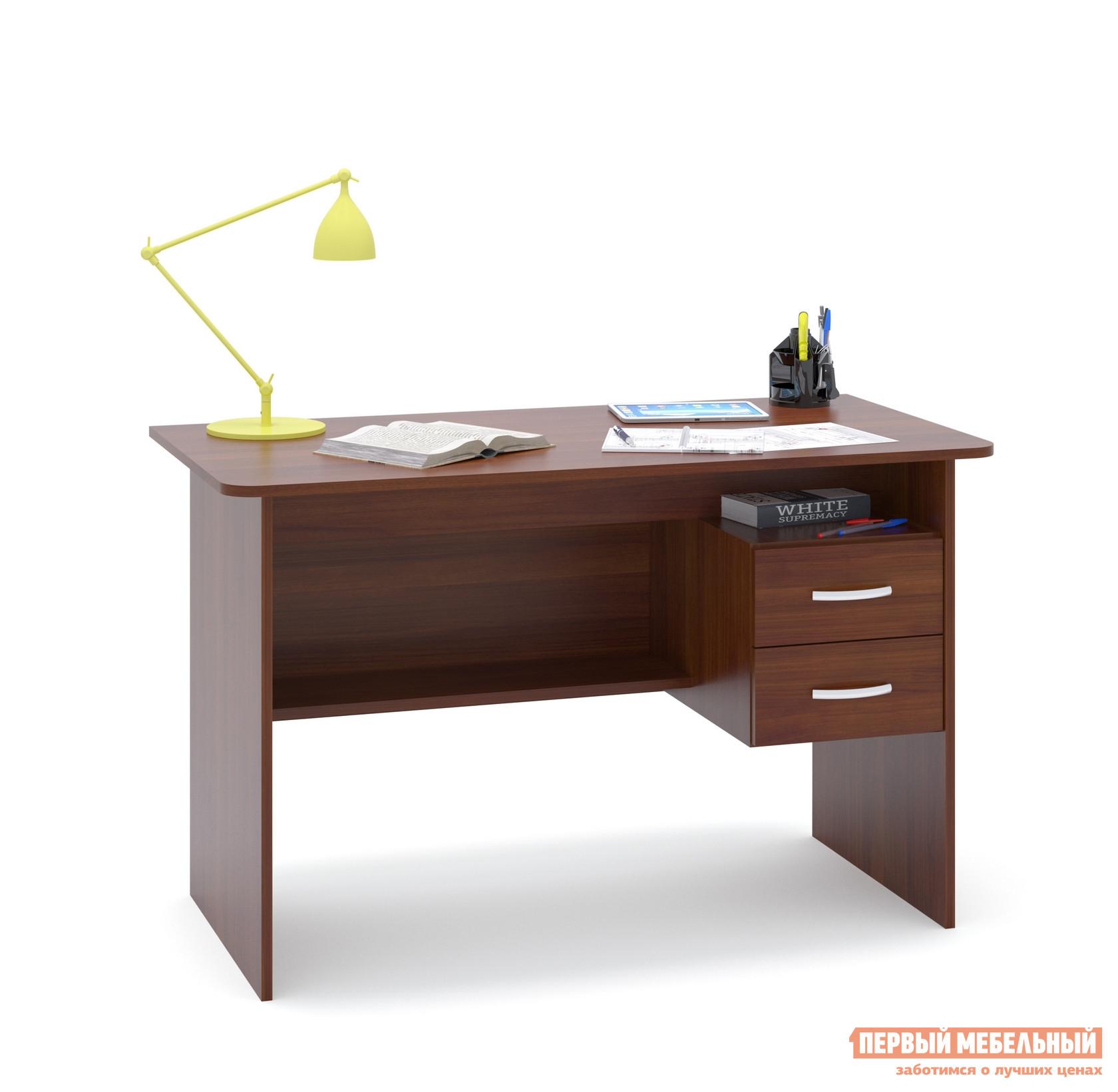 Письменный стол Сокол СПМ-07.1 Испанский орехПисьменные столы<br>Габаритные размеры ВхШхГ 740x1200x600 мм. Большой письменный стол со встроенной тумбой.  Внизу задней стенки также находится небольшая полочка.  Встроенная тумбы состоит из двух ящиков с открытой нишей сверху.  За таким столом удобно будет себя чувствовать и школьник и студент.  Стол также можно использовать как компьютерный. Внутренний размер ящиков — 211 х 354 мм. Высота от пола до ящиков составляет 290 мм, высота от пола до полки под столом — 310 мм. Высота полочки над ящиками — 124 мм. Стол универсален при сборке, тумбу можно расположить с любой стороны. Стол изготовлен из ЛДСП отечественного производства толщиной 16 мм.  Края столешницы отделаны кромкой ПВХ 2 мм.  Для обработки торцов у остальных деталей используется кромка ПВХ 0,4 мм.  Рекомендуем сохранить инструкцию по сборке (паспорт изделия) до истечения гарантийного срока.<br><br>Цвет: Красное дерево<br>Высота мм: 740<br>Ширина мм: 1200<br>Глубина мм: 600<br>Кол-во упаковок: 1<br>Форма поставки: В разобранном виде<br>Срок гарантии: 2 года<br>Тип: Прямые<br>Материал: Дерево<br>Материал: ЛДСП<br>Размер: Большие<br>Размер: Ширина 120 см<br>С ящиками: Да<br>Без надстройки: Да<br>С тумбой: Да<br>Стиль: Современный<br>Стиль: Модерн