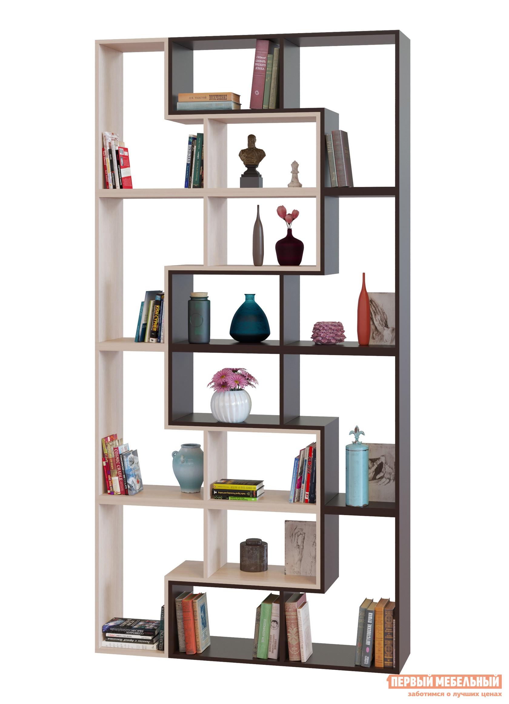 Стеллаж Сокол ПК-9, 8 шт. вариант 3 Венге / Беленый дубСтеллажи<br>Габаритные размеры ВхШхГ 2400x1200x296 мм. Высокий открытый стеллаж ПК-9, 8 шт.  вариант 3 идеален для создания библиотеки в гостиной, в молодежной комнате или в домашнем кабинете.  Большое количество полок разных размеров позволяют расставить разнокалиберные книги с удобным к ним доступом.  Все корешки будут видны и вы сразу сможете найти нужное издание. Этот стеллаж можно собрать из модульных элементов четырех цветовых решений: Венге, Белый, Беленый дуб и Дуб сонома: в однотонном варианте или комбинируя цвета.  При оформлении заказа просто укажите сколько модульных деталей и в каком цвете вам потребуется, чтобы собрать уникальный стеллаж для вашего дома. Изделие выполняется из ЛДСП толщиной 16 мм, края обработаны кромкой ПВХ 0,4 мм.  Стеллаж устанавливается на пластиковые опоры. Обратите внимание! Модули стеллажа соединяются между собой с помощью межсекционных стяжек, которые входят в комплект фурнитуры.  Для соединения модулей между собой необходимо просверлить отверстия диаметром 5 мм в тех деталях, которые будут соприкасаться плоскостями.  Для сверления точных отверстий рекомендуется использовать струбцину. Стеллаж не предусмотрен для зонирования пространства.  Для устойчивости стеллаж необходимо крепить к стене при помощи монтажных уголков, которые входят в комплект фурнитуры.  При заказе услуги сборки нашими специалистами крепление к стене включено в общую стоимость сборки.   Рекомендуем сохранить инструкцию по сборке (паспорт изделия) до истечения гарантийного срока.<br><br>Цвет: Темное-cветлое дерево<br>Высота мм: 2400<br>Ширина мм: 1200<br>Глубина мм: 296<br>Кол-во упаковок: 8<br>Форма поставки: В разобранном виде<br>Срок гарантии: 2 года<br>Тип: Открытые<br>Тип: Книжные<br>Тип: Напольные<br>Тип: Модульные<br>Тип: Пристенные<br>Тип: Без задней стенки<br>Назначение: Для дома<br>Назначение: Для офиса<br>Материал: ЛДСП<br>Размер: Высокие<br>Модель: ПК-9